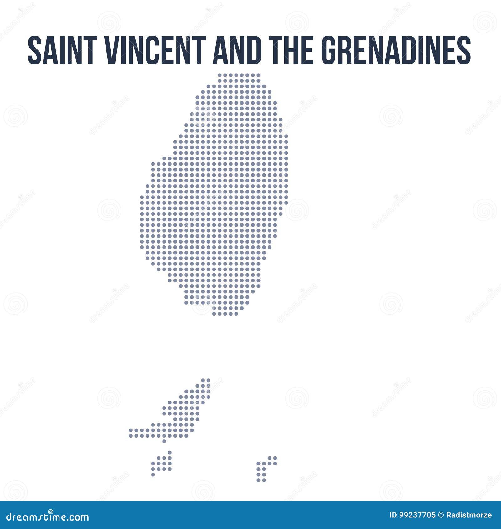 Vektorn prack översikten av Saint Vincent och Grenadinerna isolerade på vit bakgrund