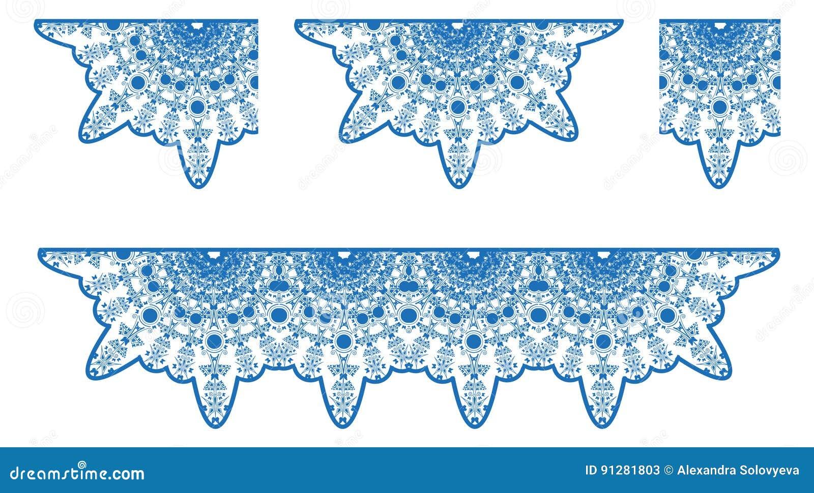 Vektorn snör åt bordduken i blåttfärg