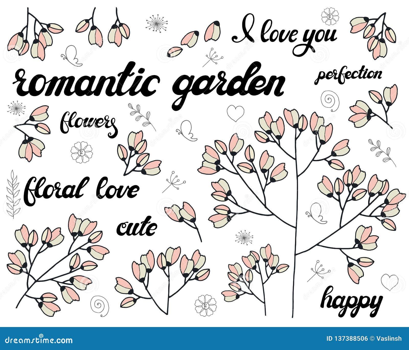 Vektorn ställde in av blom- filial Klotterbeståndsdelar med gulliga rosa blommor Design för romantisk hälsa kort- eller inbjudanb