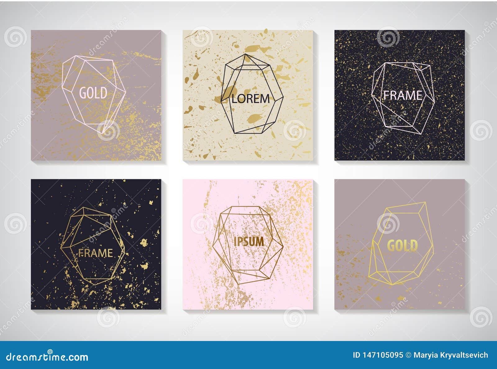 Vektorn ställde in av linjen guld- ramar, kort med textur Bröllopinbjudan sparar datumkortdesignen med elegant folie