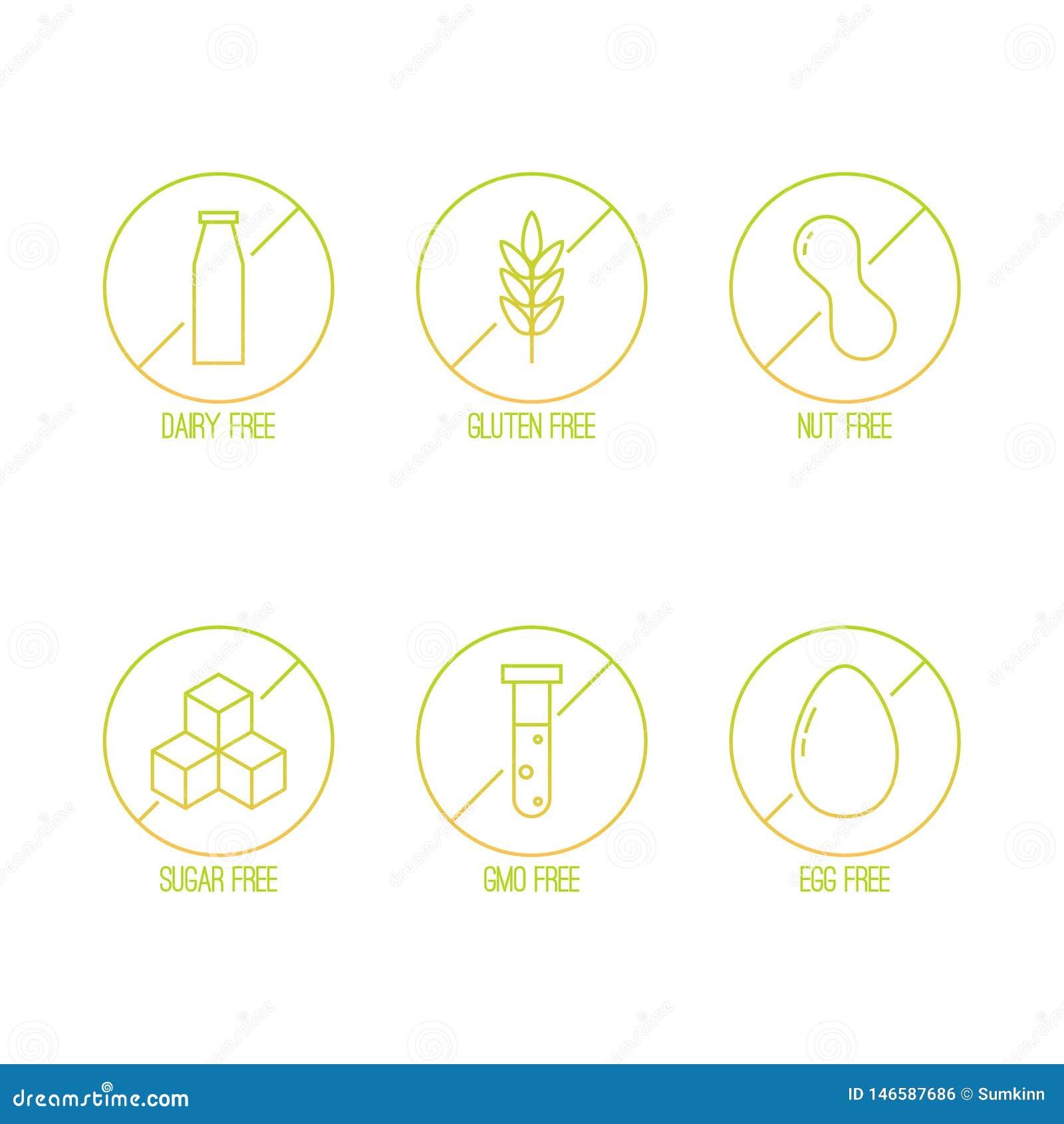 Vektorn ställde in av mat bantar etiketter för non GMO