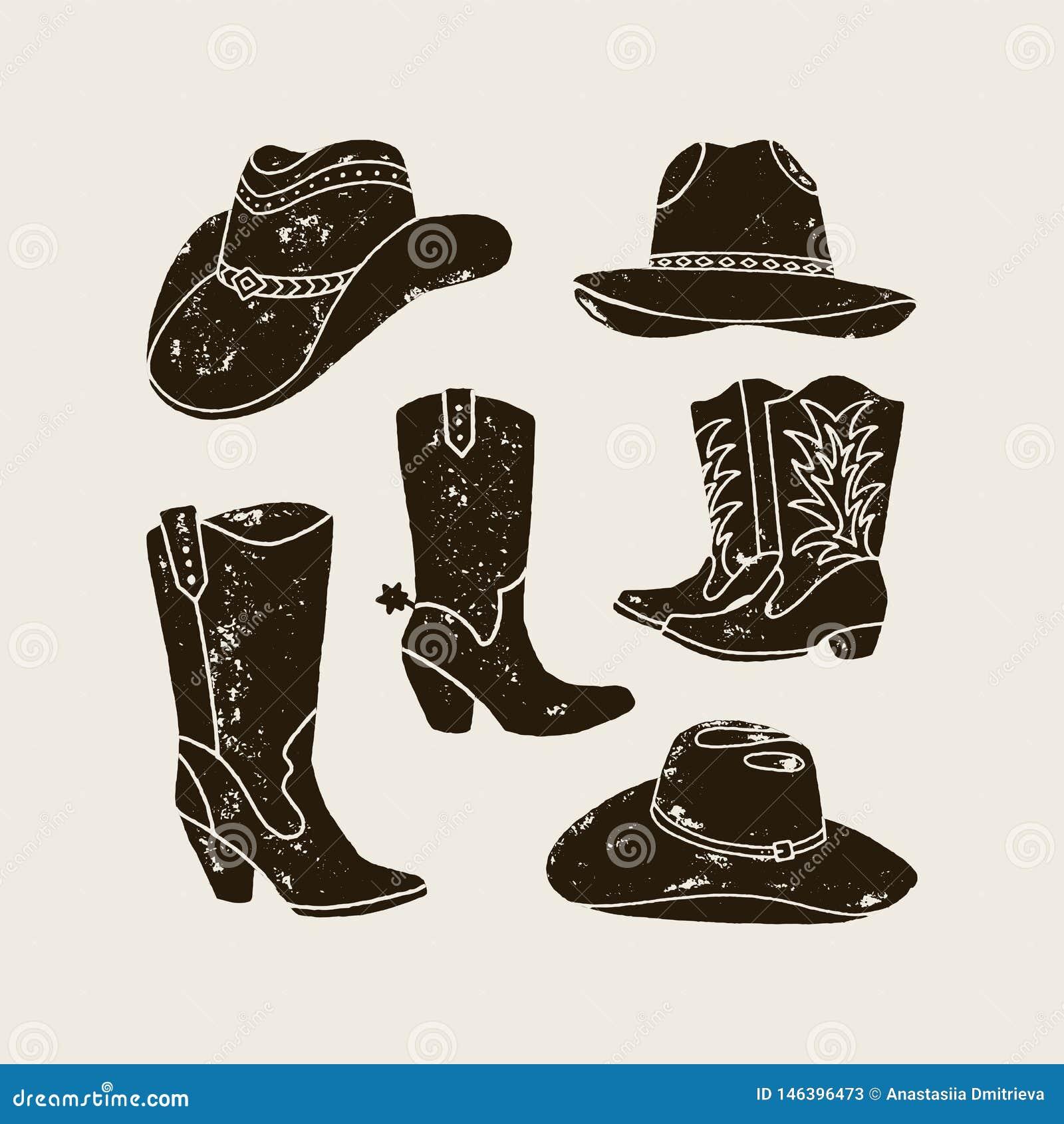 Vektorn ställde in av olik kontur för cowboy Hats och känga