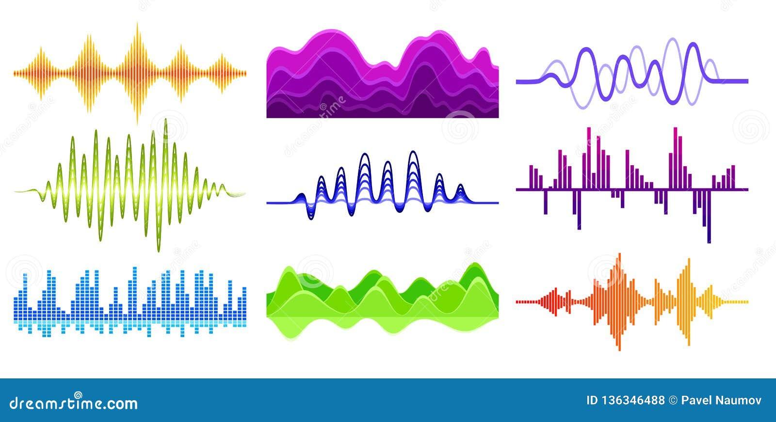 Vektorn ställde in av olika musikvågor Solid puls Digital waveforms Ljudsignal utjämnare Musikalisk teknologi