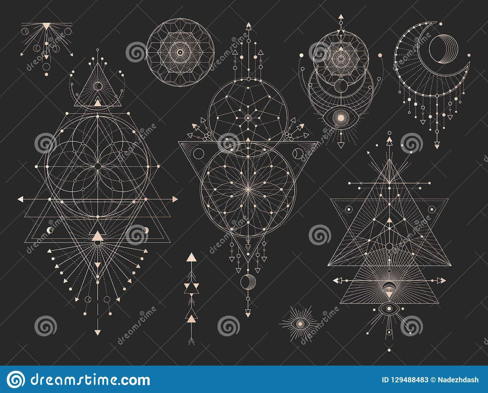 Vektorn ställde in av sakrala geometriska symboler med månen, ögat, pilar, dreamcatcher och diagram på svart bakgrund Guld- abstr