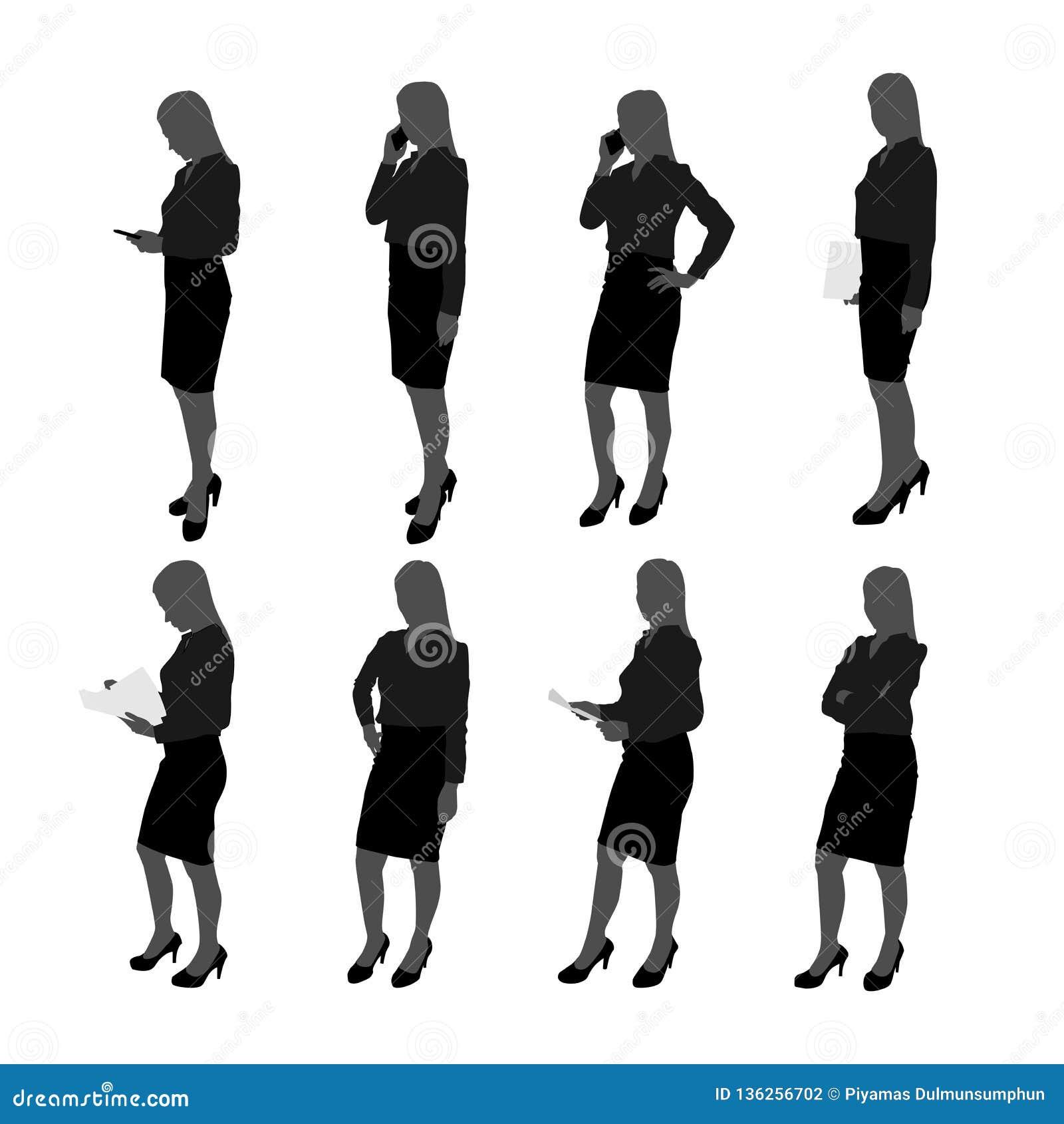 Vektorn ställde in av ställningsaffärskvinnakontur affärskvinna med olik handling liksom att använda mobiltelefonen, posera som a