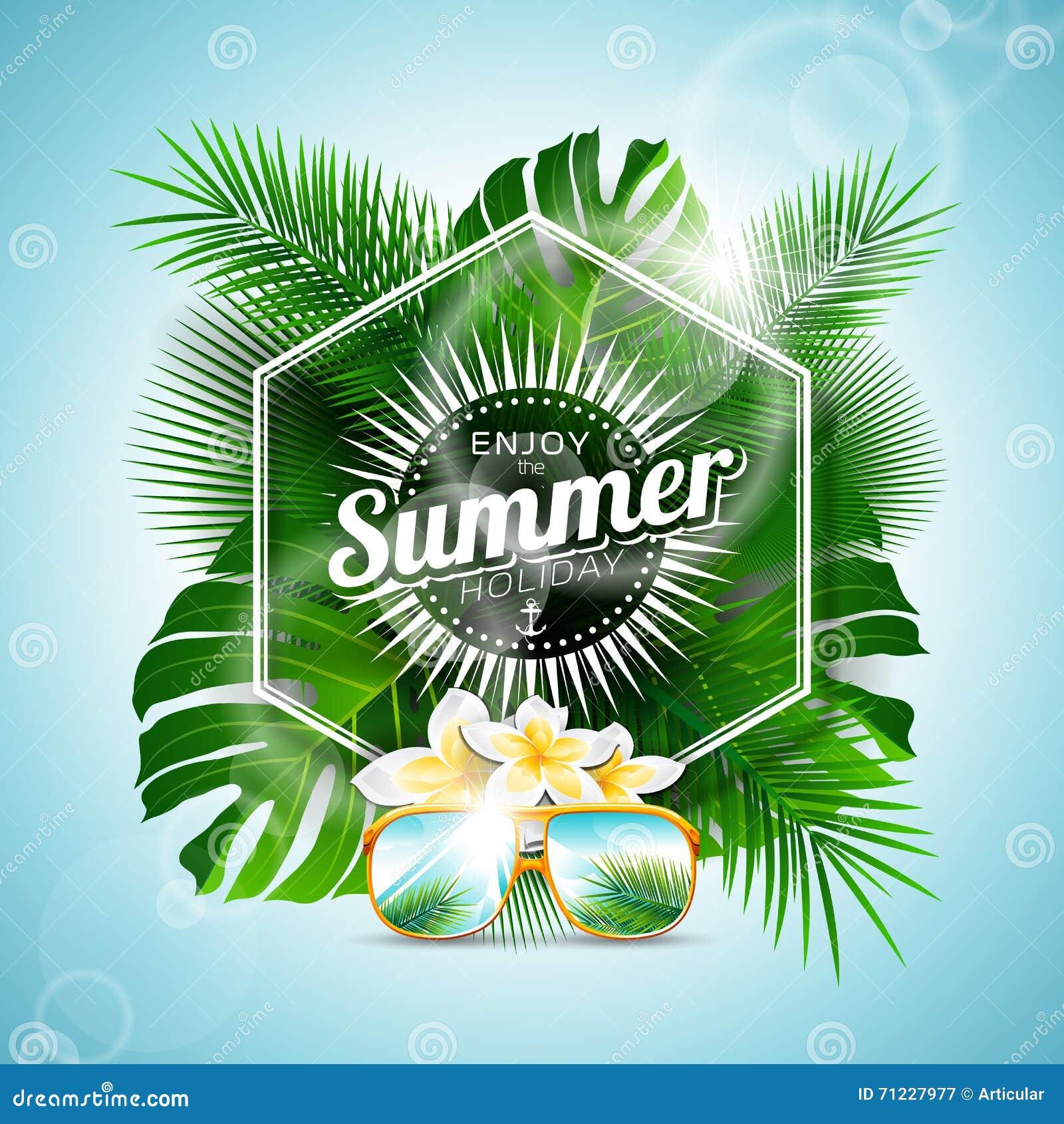 Vektorn tycker om den typografiska illustrationen för sommarferie med tropiska växter och blommor på ljus - blå bakgrund