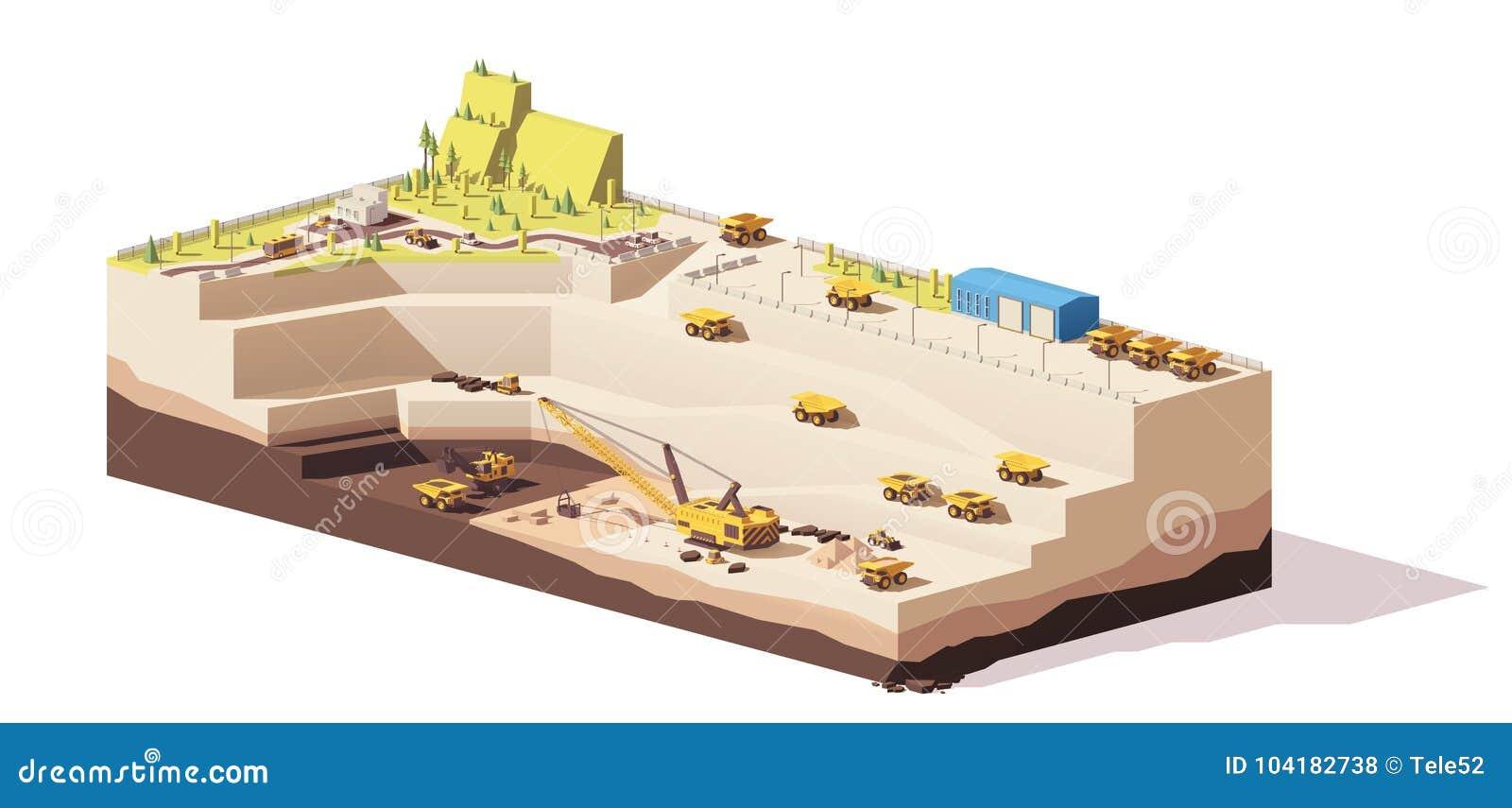 Vektorniedrige Polytagebau-Kohlengrube