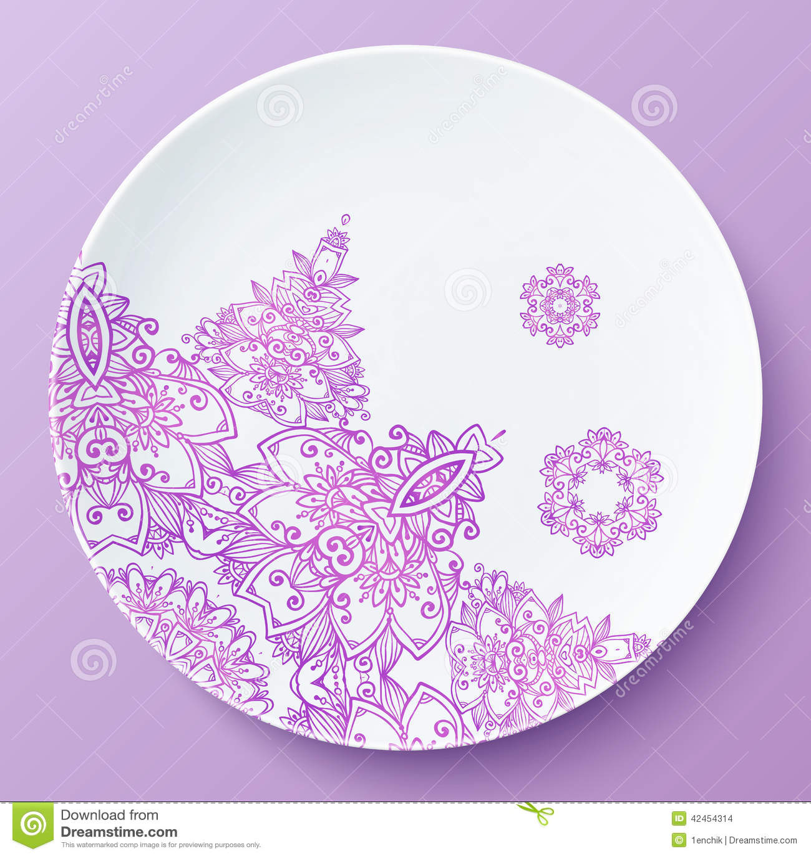 Vektorplatte mit rosa aufwändigem Muster