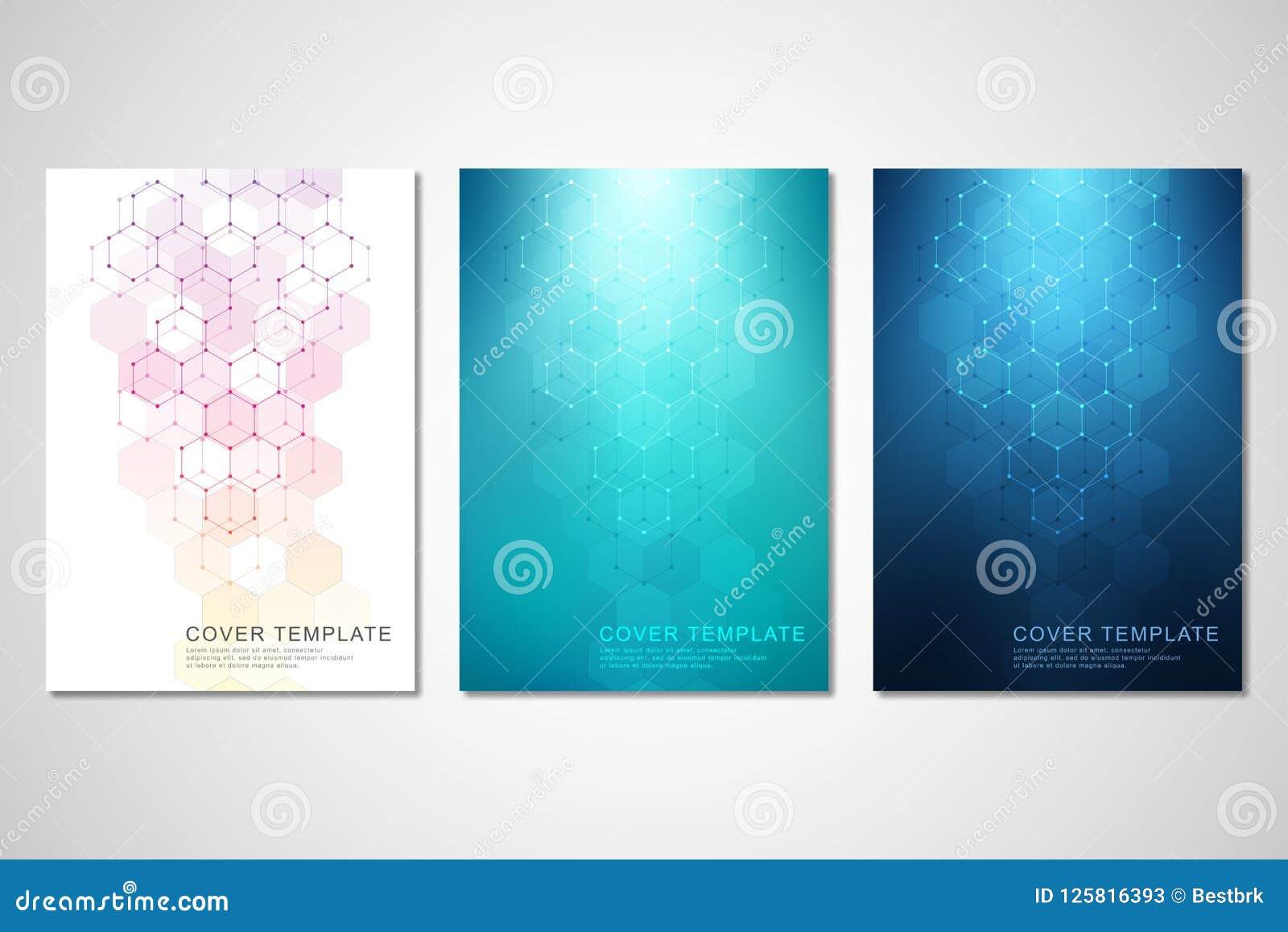 Vektorräkningar eller broschyr för medicin, vetenskap och digital teknologi Geometrisk abstrakt bakgrund med sexhörningar