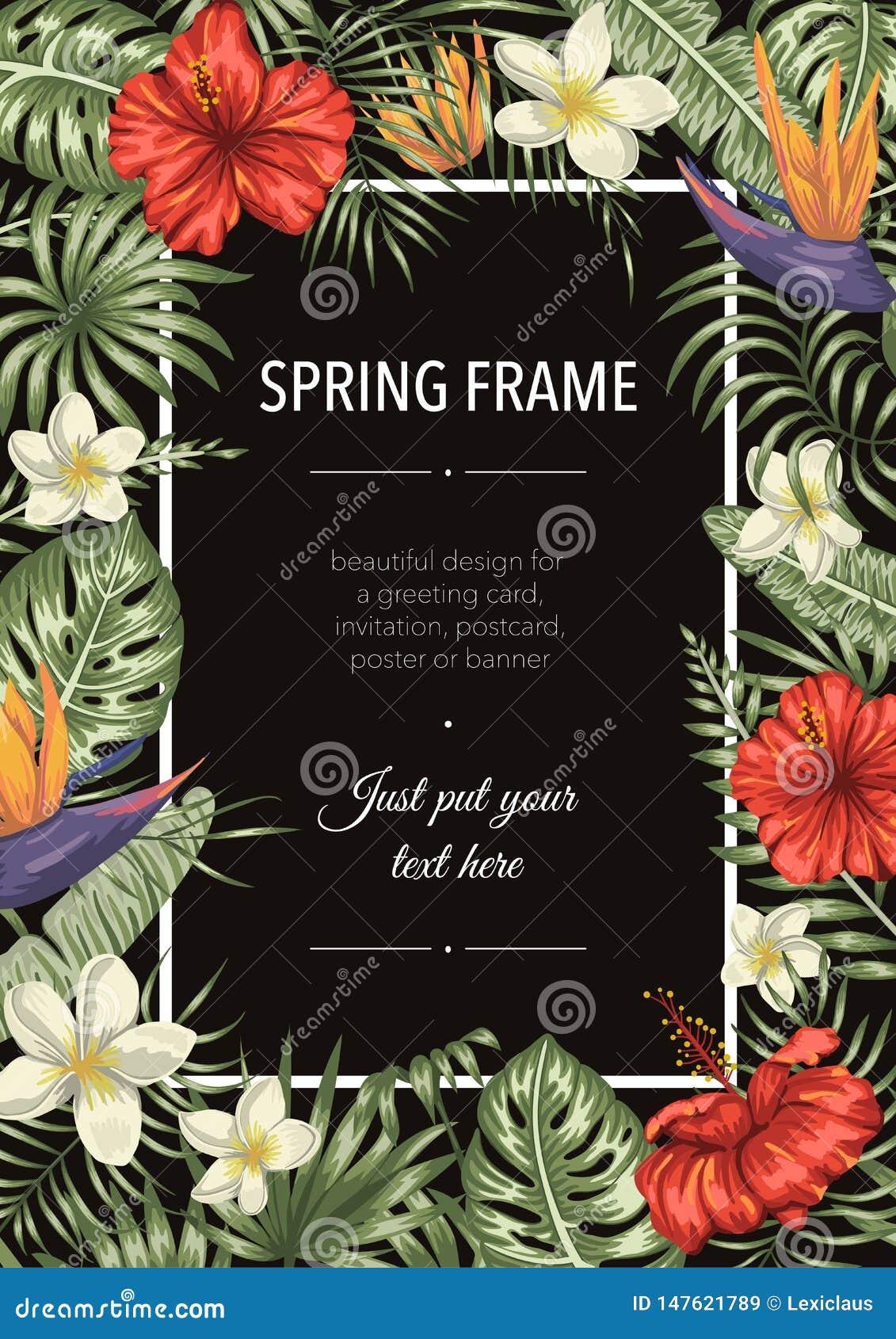Vektorrahmenschablone mit tropischen Bl?ttern und Blumen auf schwarzem Hintergrund Vertikale Plankarte mit Platz f?r Text Fr?hlin