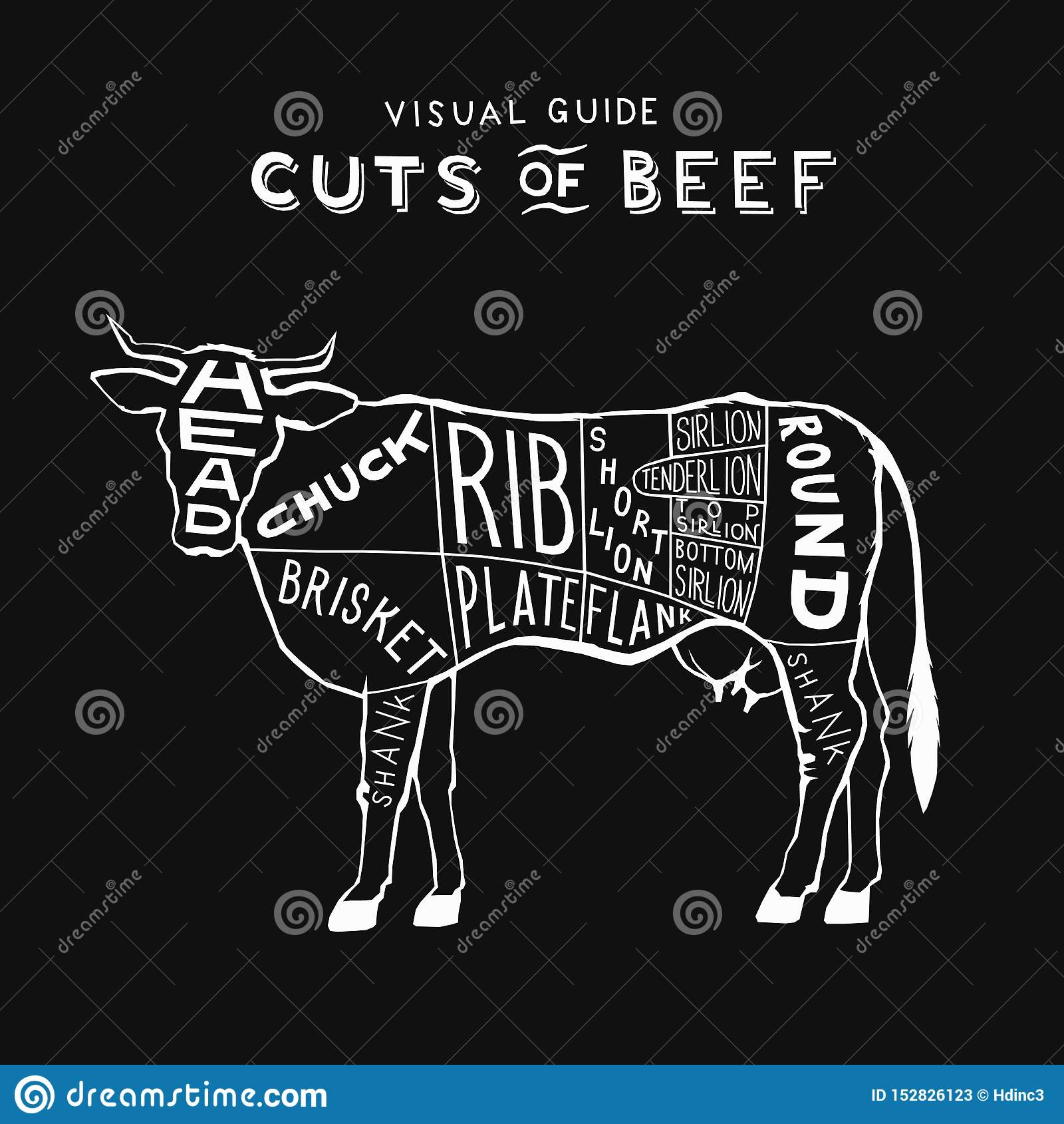 Vektorrindfleischstücke Kuhlogoweiß auf schwarzer Monogrammweinlese