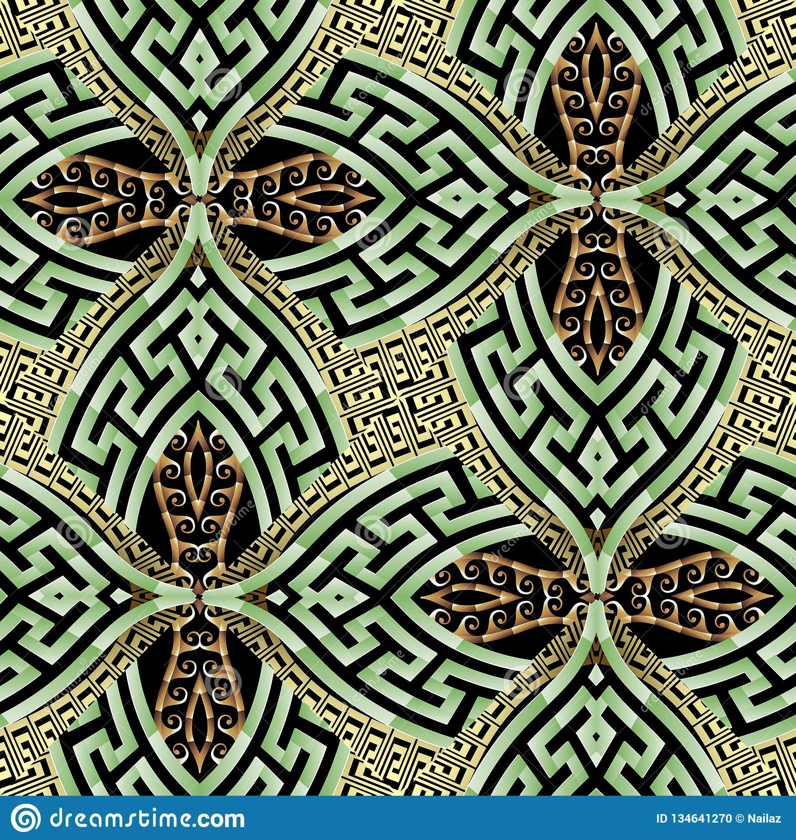 Vektors des grünes Goldnahtloses Muster des dekorativen modernen Griechen 3d Ethnischer Artweinlesehintergrund Geometrische Wiede