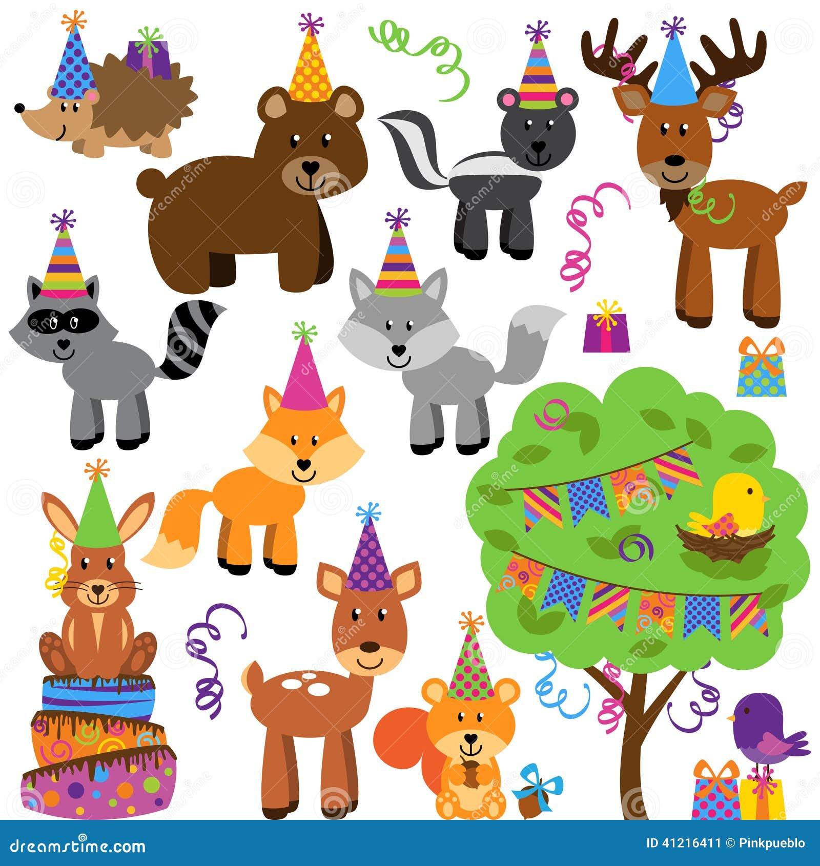 Vektorsamling av djur för skog eller för skogsmark för födelsedagparti