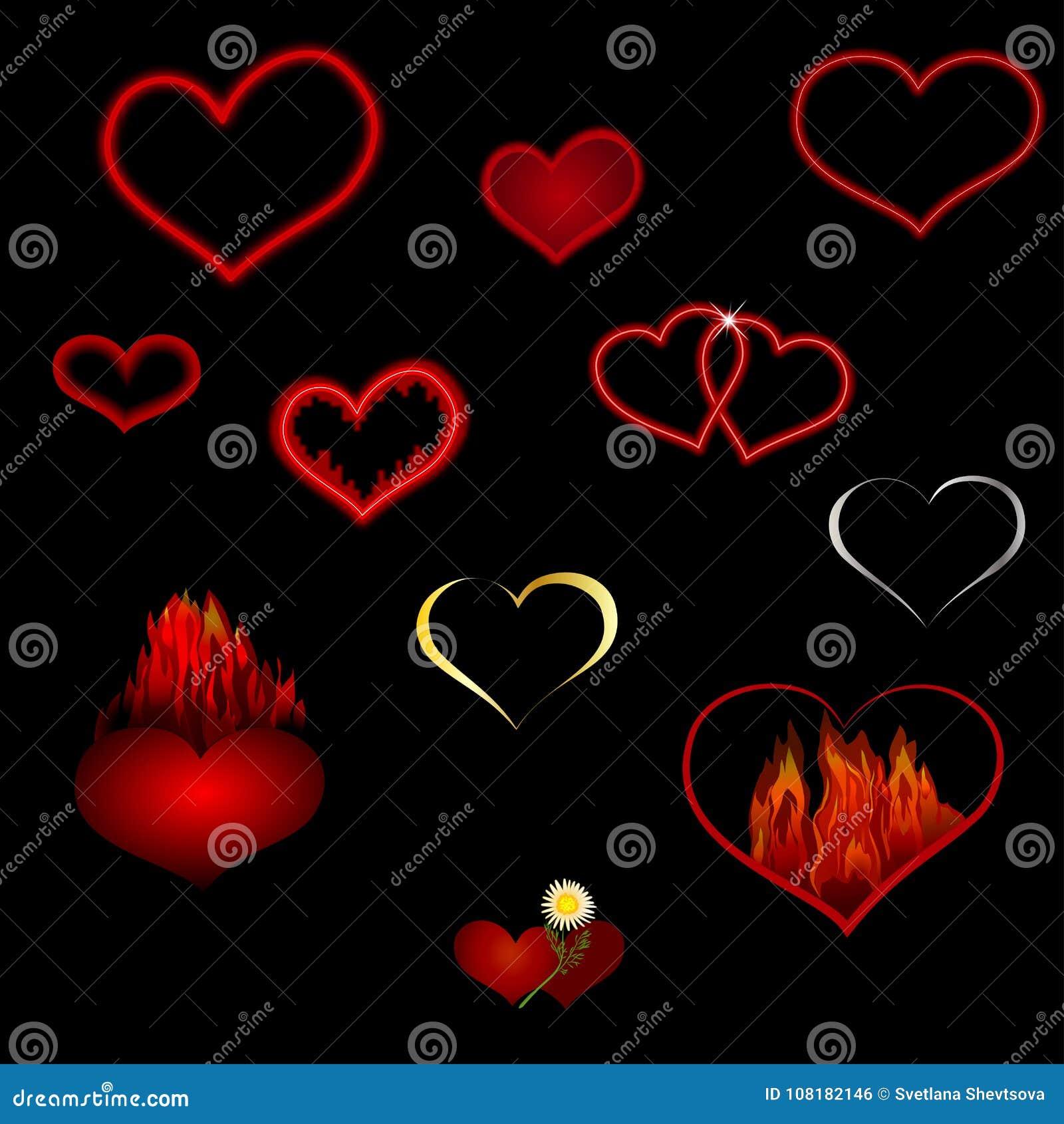 Vektorsamling av röda hjärtor av olika former på en svart bakgrund