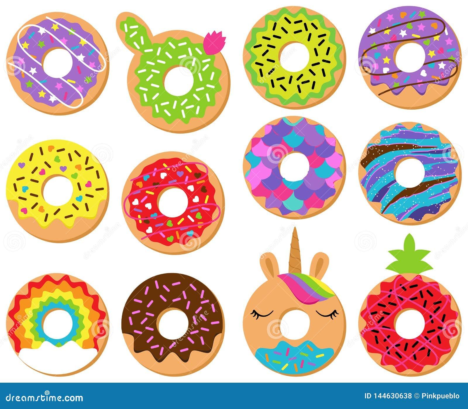 Vektorsamling av roliga och gulliga Donuts