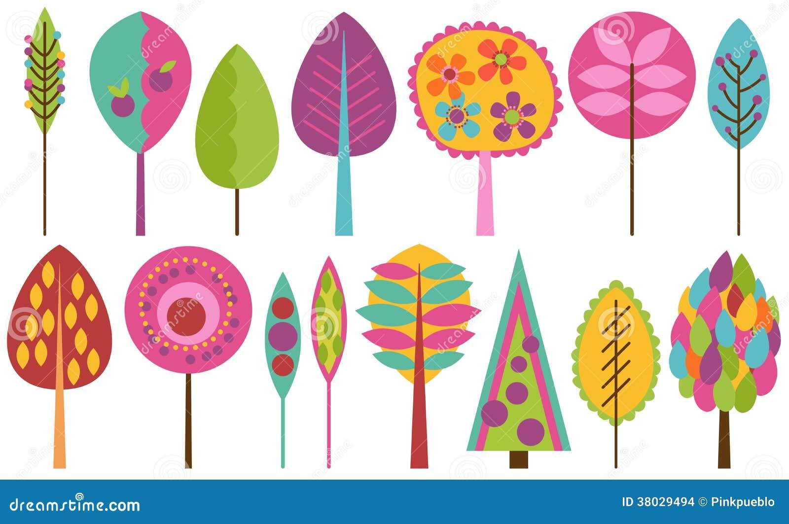 Vektorsamling av skraj Retro stiliserade träd