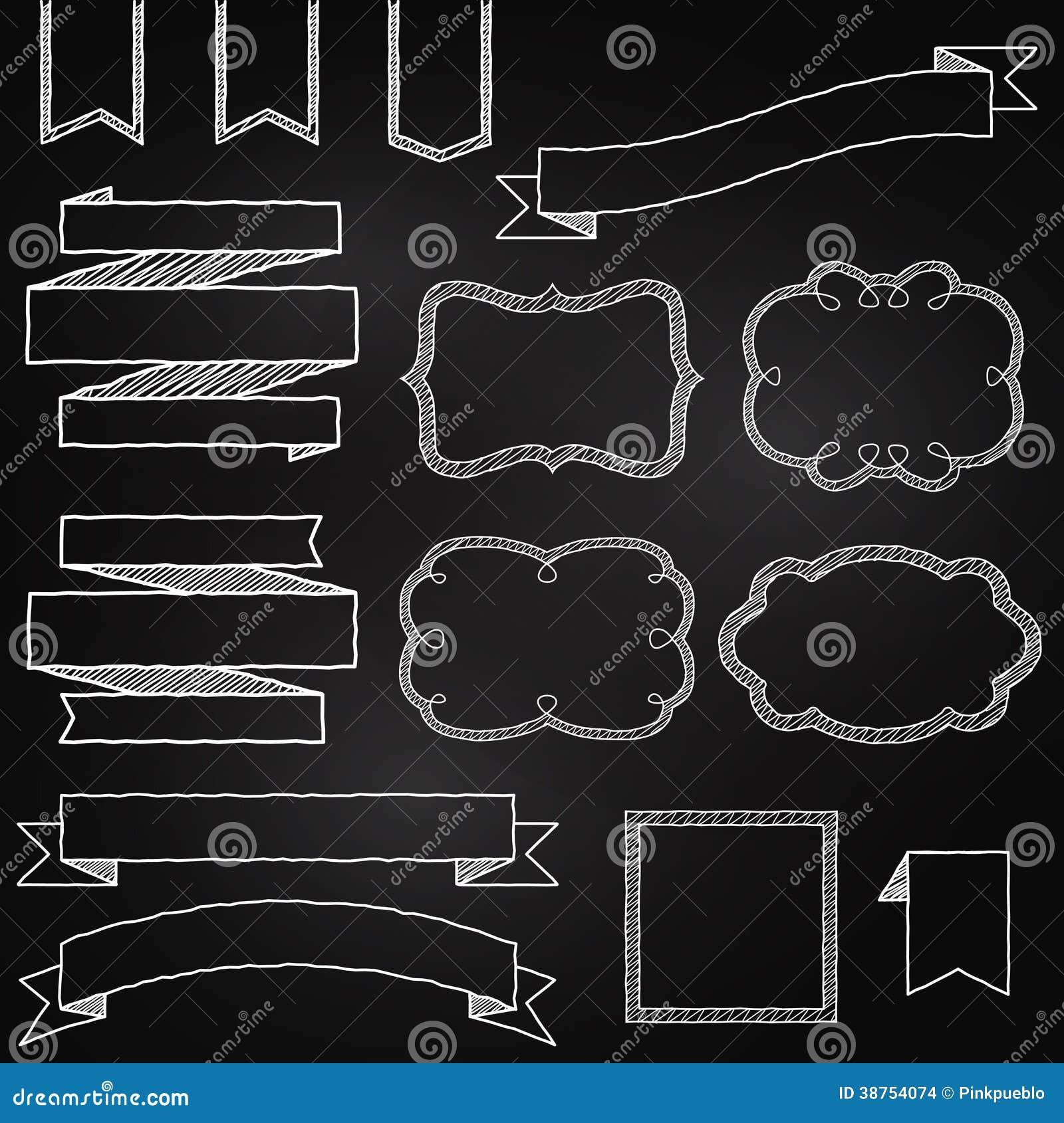 Vektorsamling av svart tavlastilbaner
