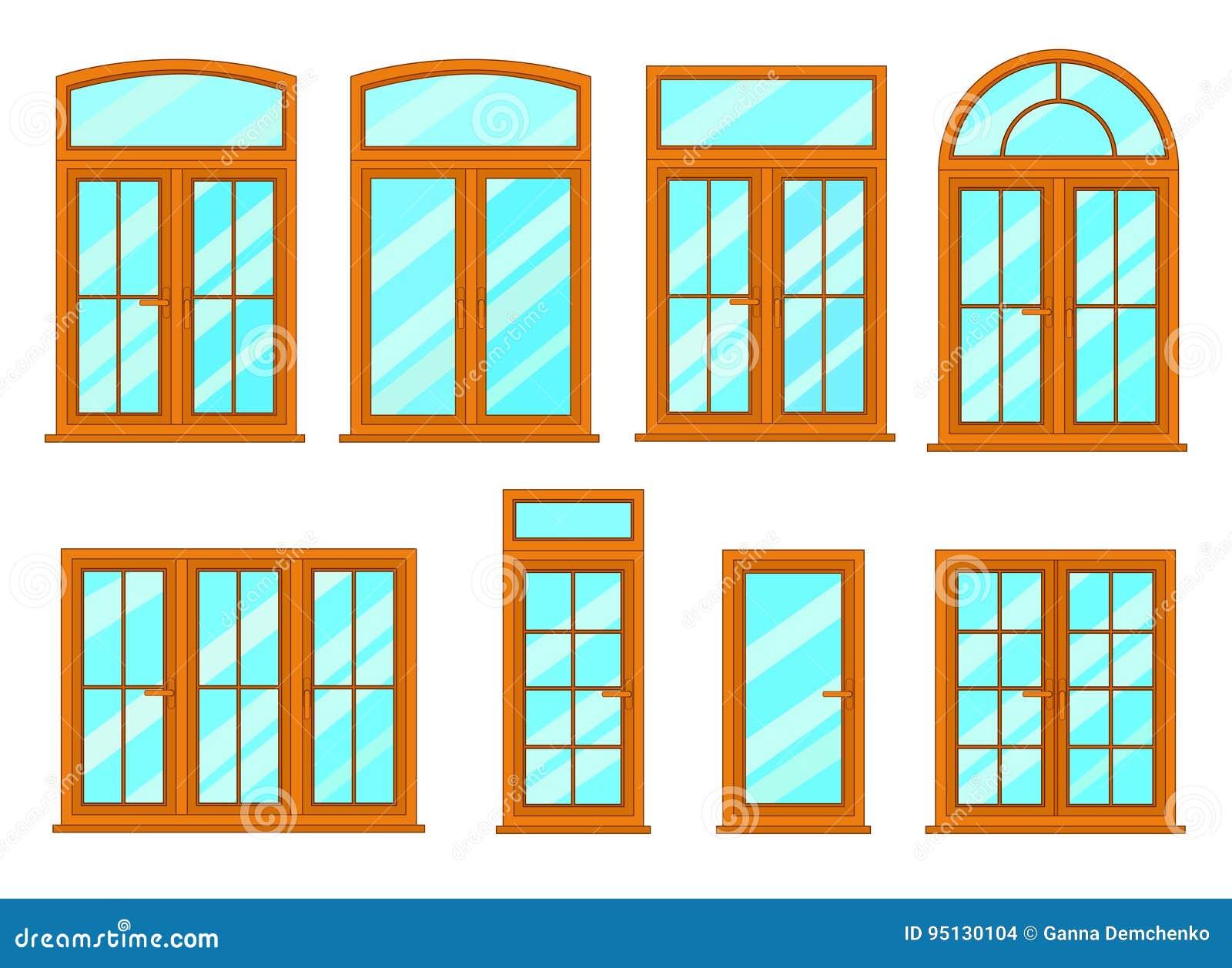Vektorsammlung Verschiedene Fensterarten Vektor Abbildung
