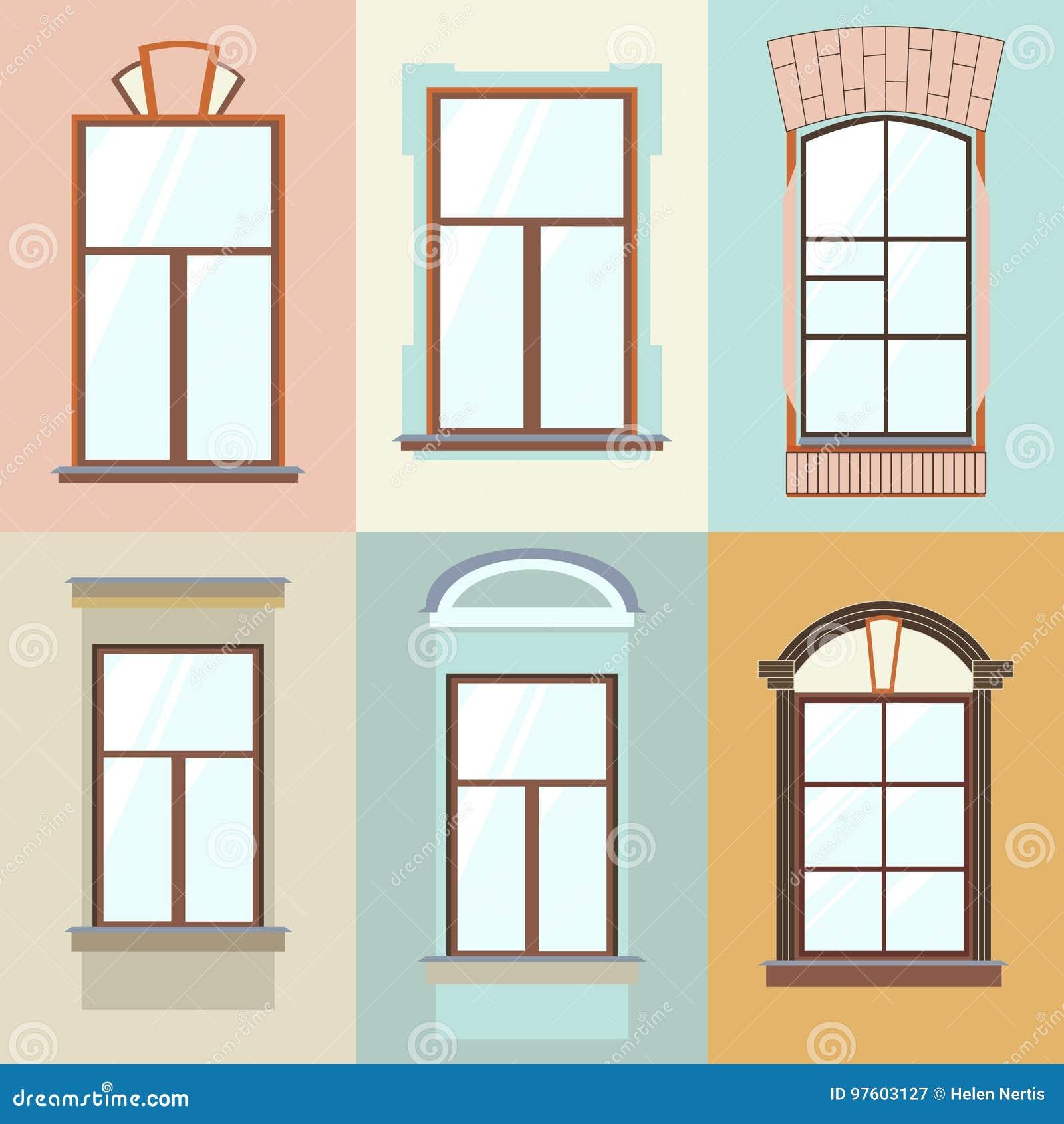 Vektorsammlung Verschiedene Fensterarten Fur Innenraum Und