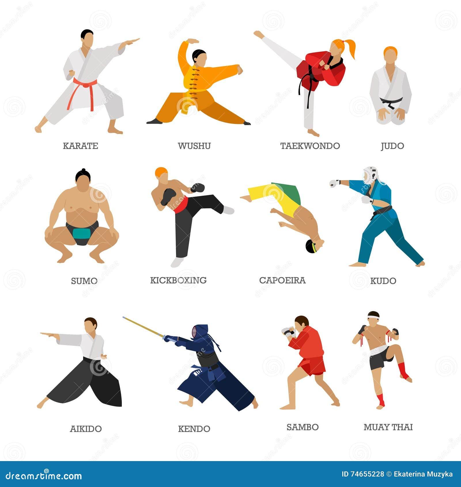 Vektorsatz des Kampfkunstleuteschattenbildes lokalisiert auf weißem Hintergrund