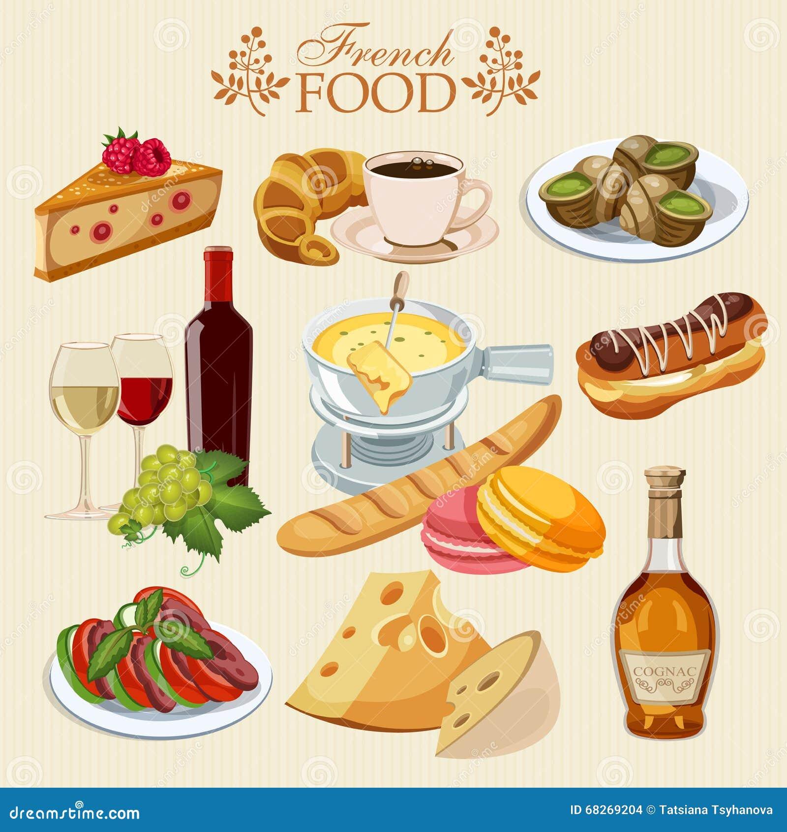 vektorsatz französische küche nationales lebensmittel von
