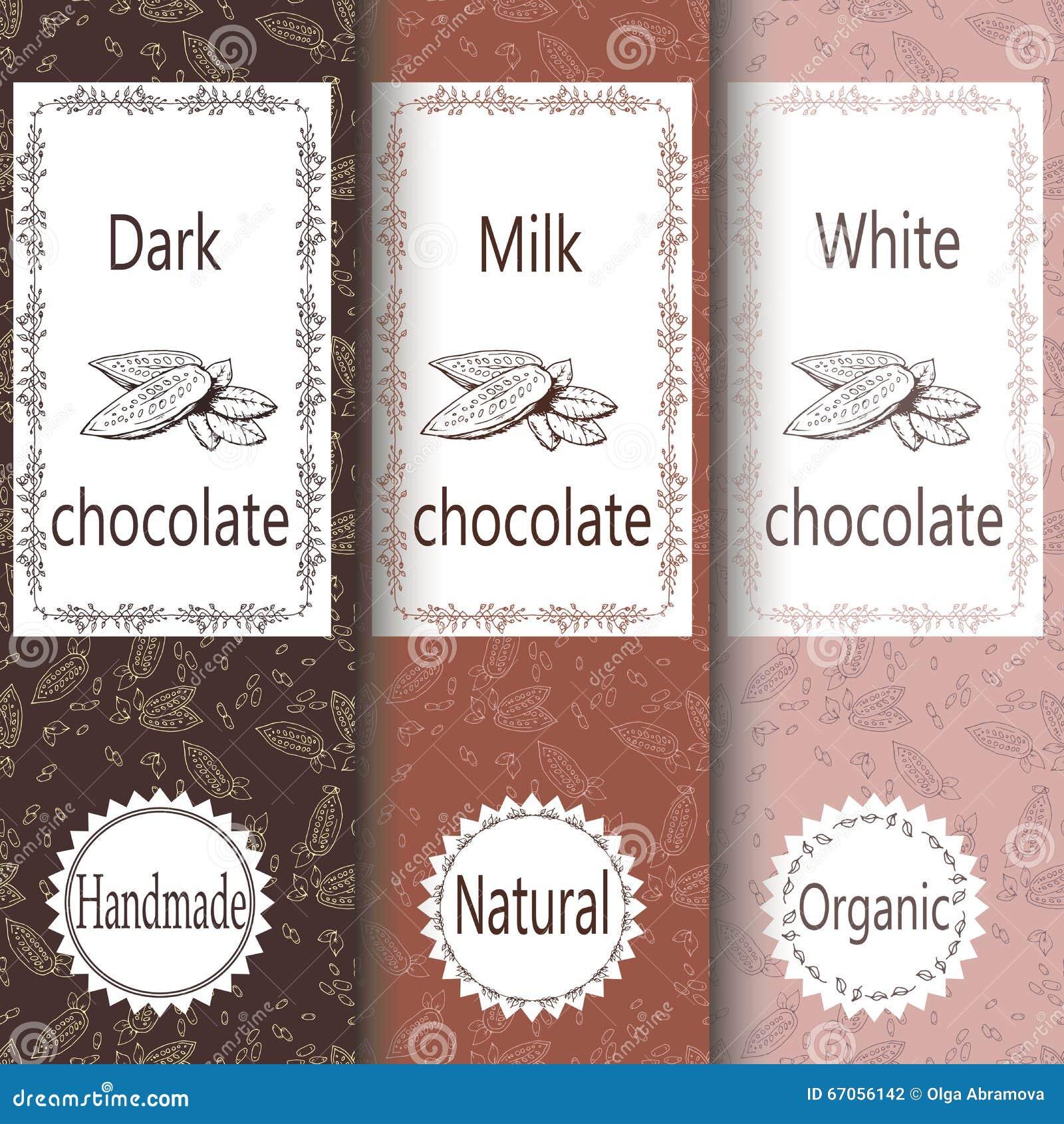 Vektorsatz Gestaltungselemente und nahtloses Muster für Schokoladen- und Kakaoverpackung - Aufkleber und Hintergrund