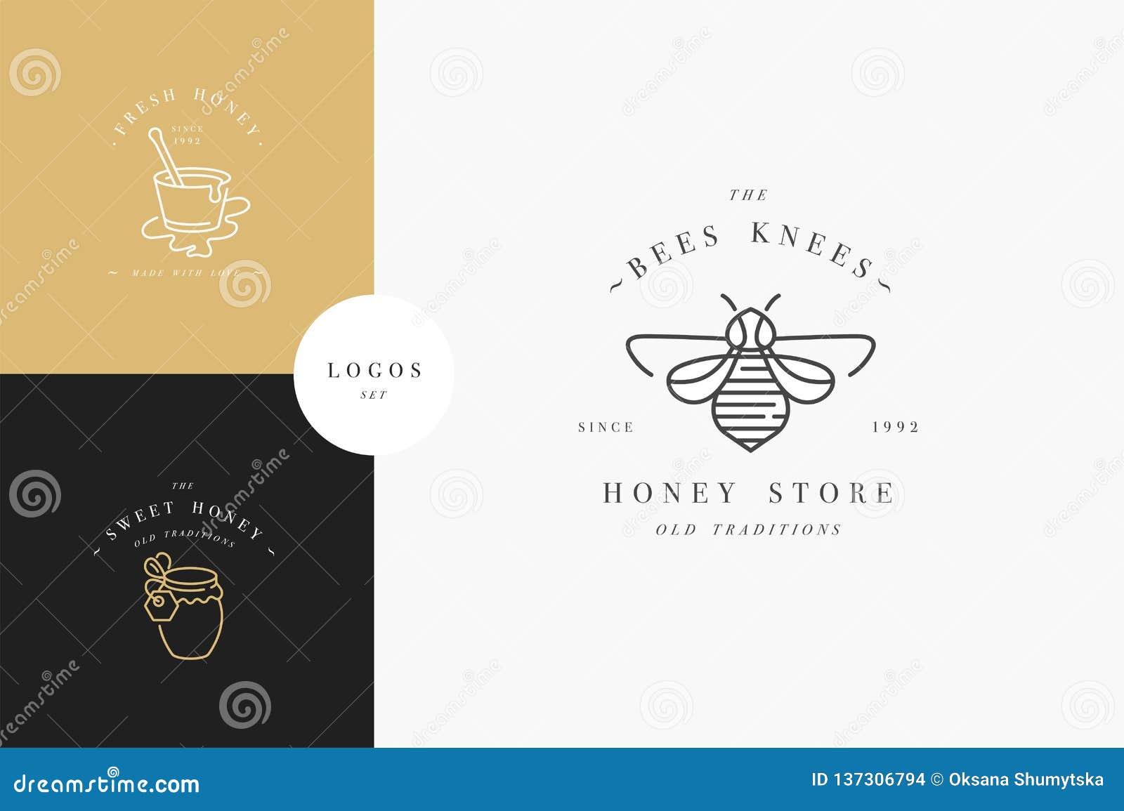 Vektorsatz illustartion Logos und Entwurfsschablonen oder -ausweise Organische und eco Honigaufkleber und -umbauten mit Bienen li