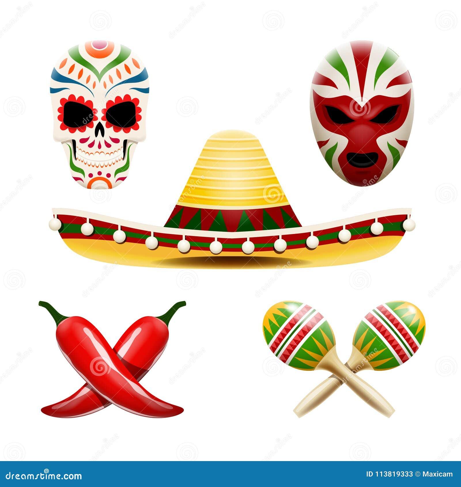 Vektorsatz mexikanische Symbole wie Sombrero, maracas, Paprikapfeffer, Zuckerschädel calavera und Ringkämpfermaske