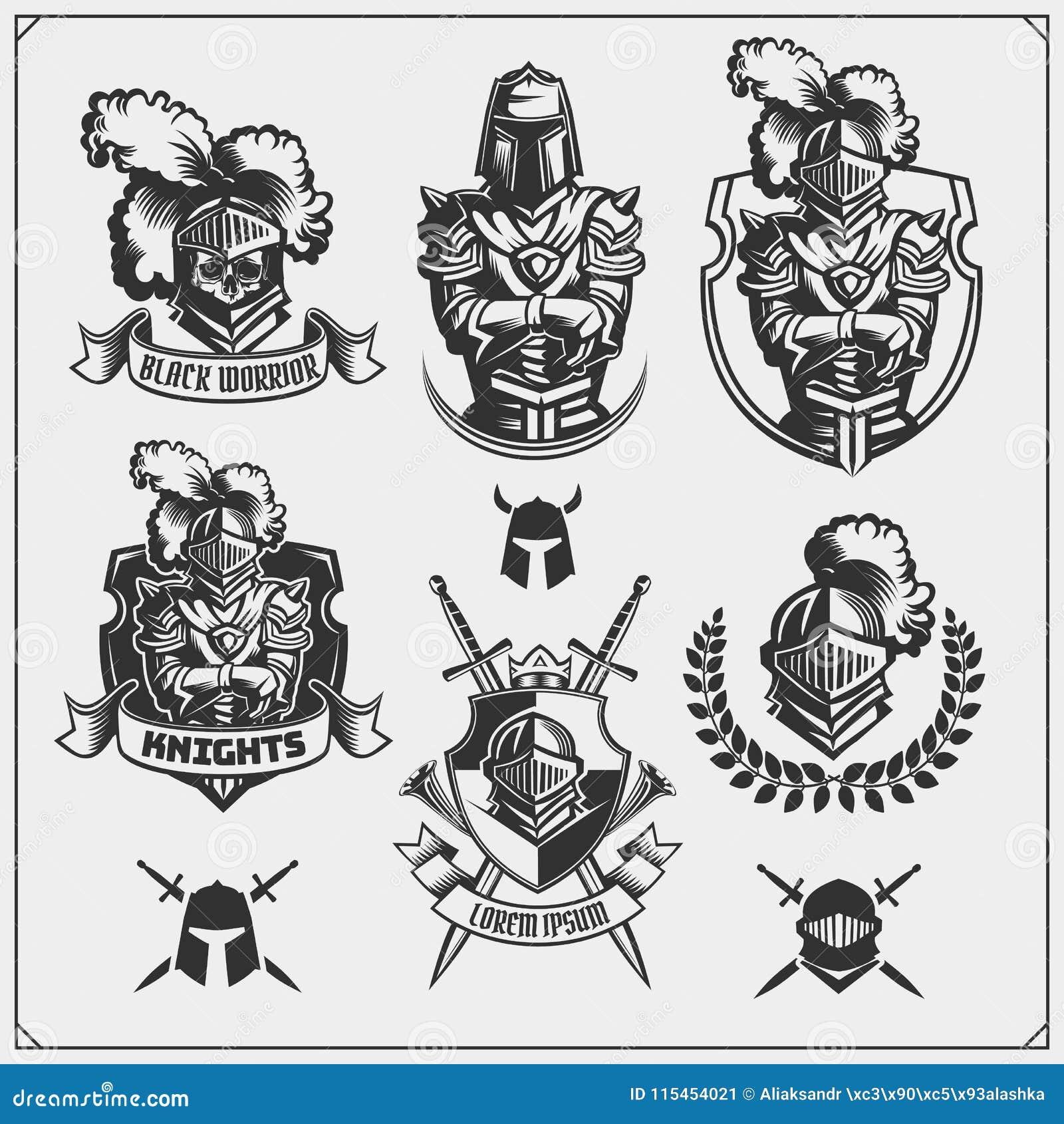 Vektorsatz mittelalterliche Kriegersritterembleme, Logos, Aufkleber, Ausweisembleme, Zeichen und Gestaltungselemente