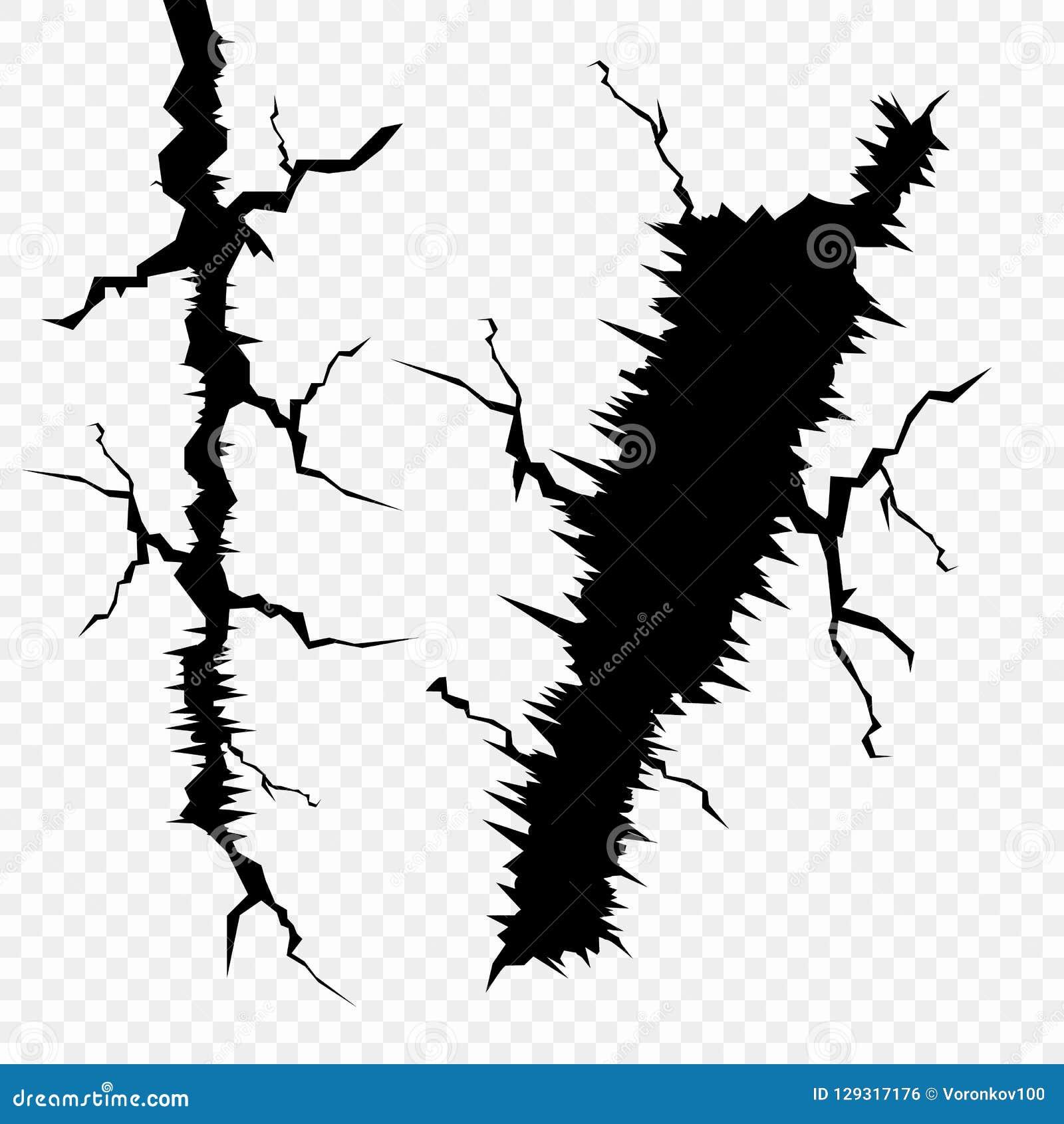 Vektorsatz Sprünge in der Oberfläche Die Elemente einer Störung in der Erde, lokalisiert auf einem transparenten Hintergrund