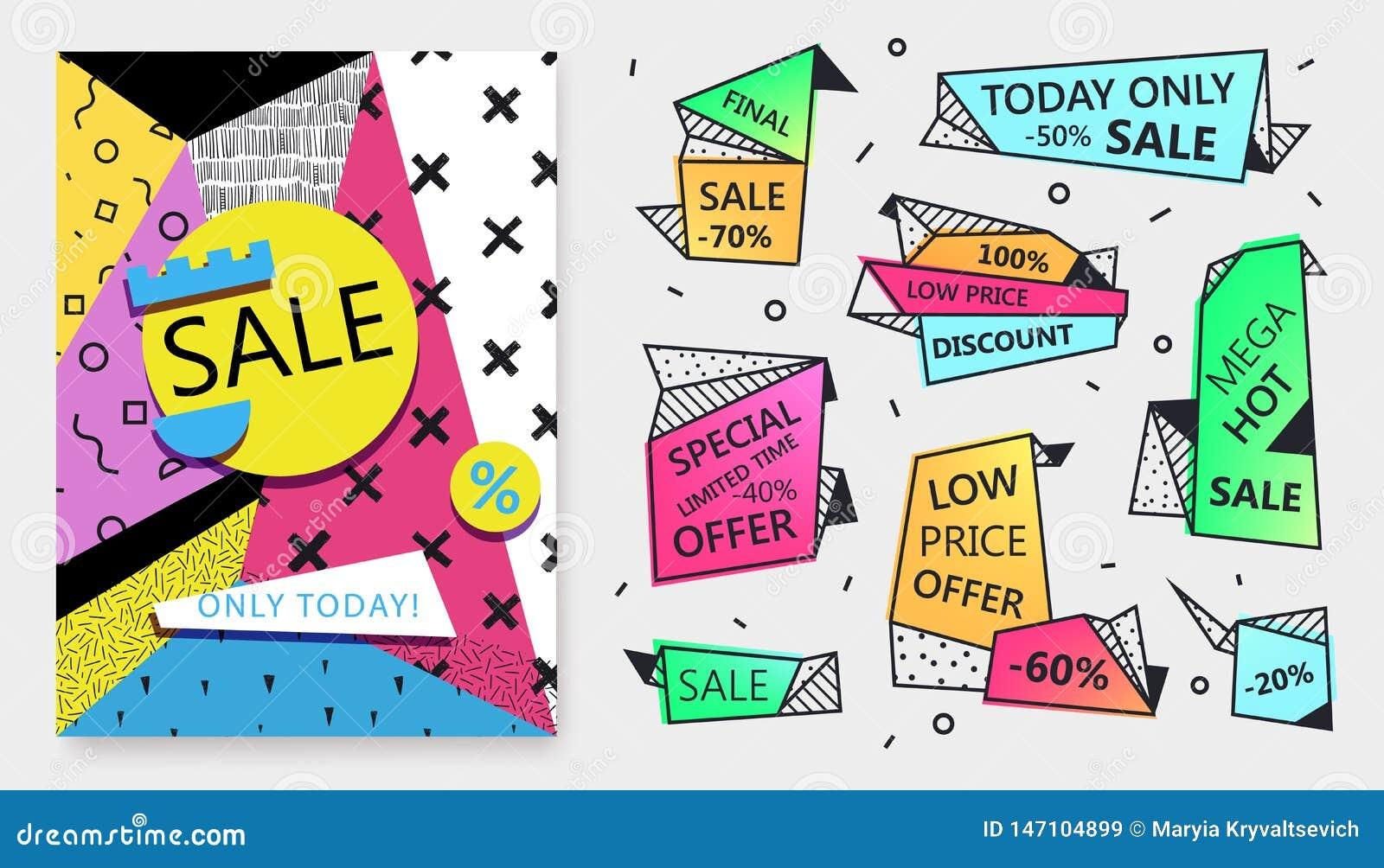 Vektorsatz Verkaufsfahnenschablonen in flachem modischem Memphis-geometrischem Stil 80s, Papierplakat der art 90s, Umbauten, Aufk