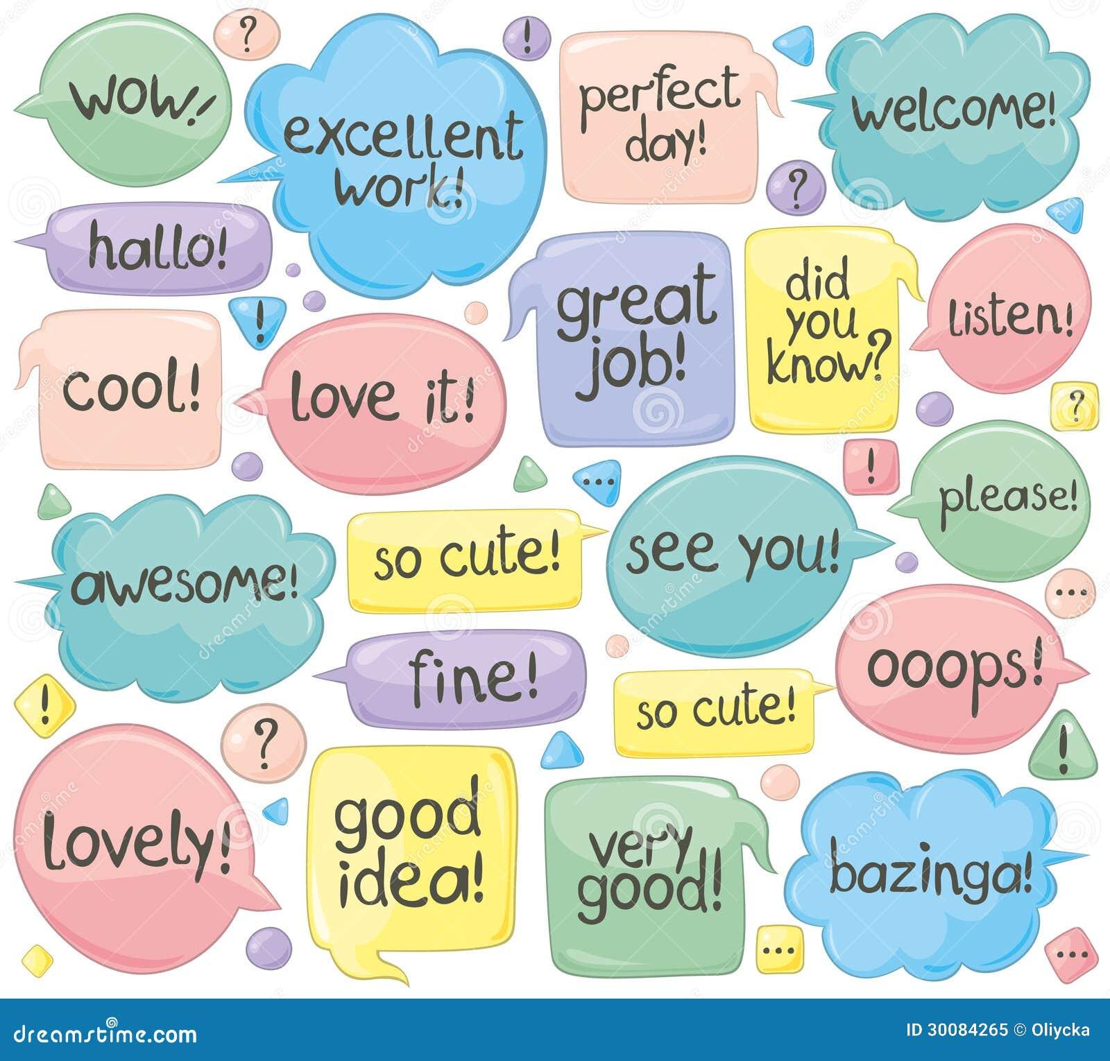 Handgeschriebene Phrasen in den Sprache-Ballonen