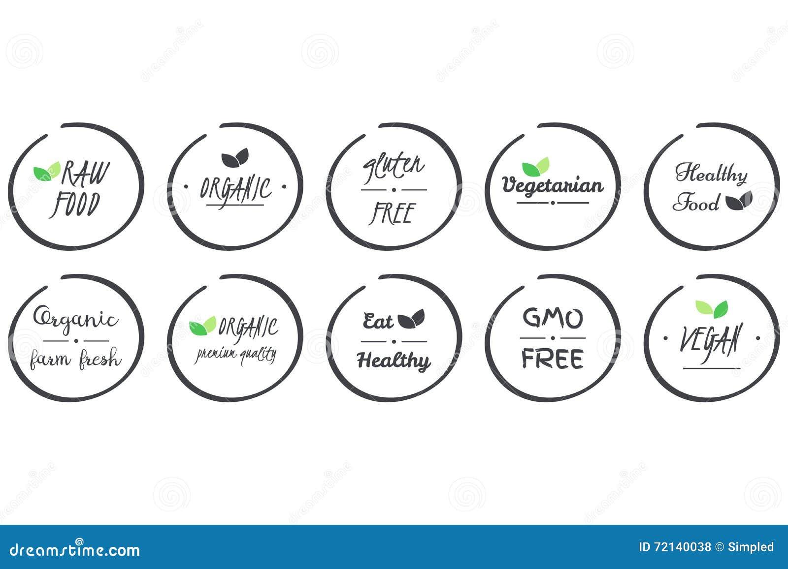Vektorsatz von icvector Satz Ikonen von organischem, gesund, strenger Vegetarier, Vegetarier, roh, GMO, Gluten-freies Lebensmitte