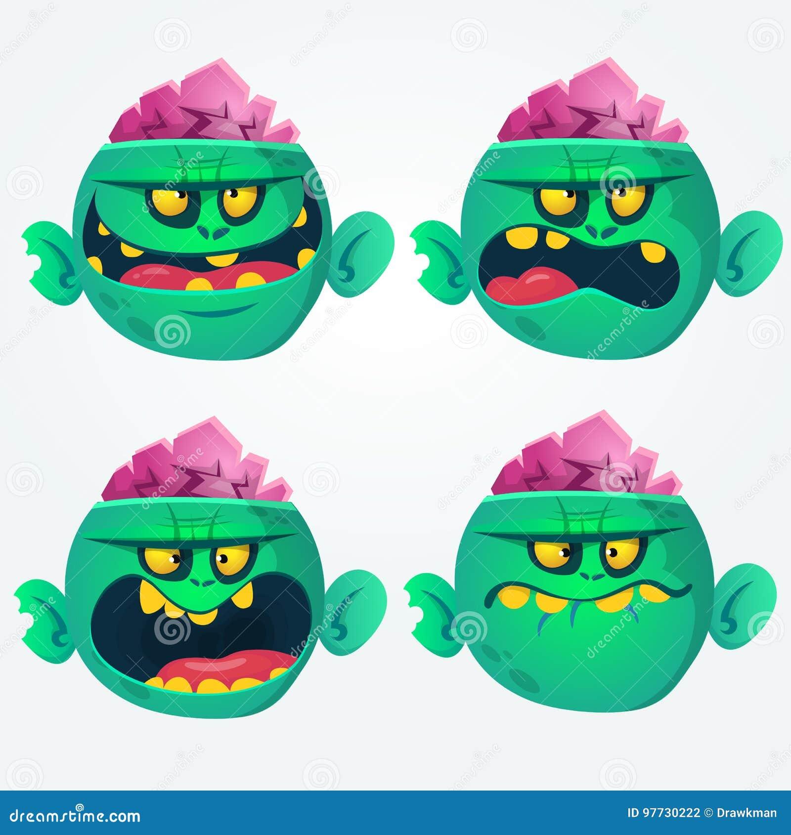 Vektorsatz von vier Karikaturbildern von lustigen grünen Zombiegroßköpfen mit verschiedenen Aktionen