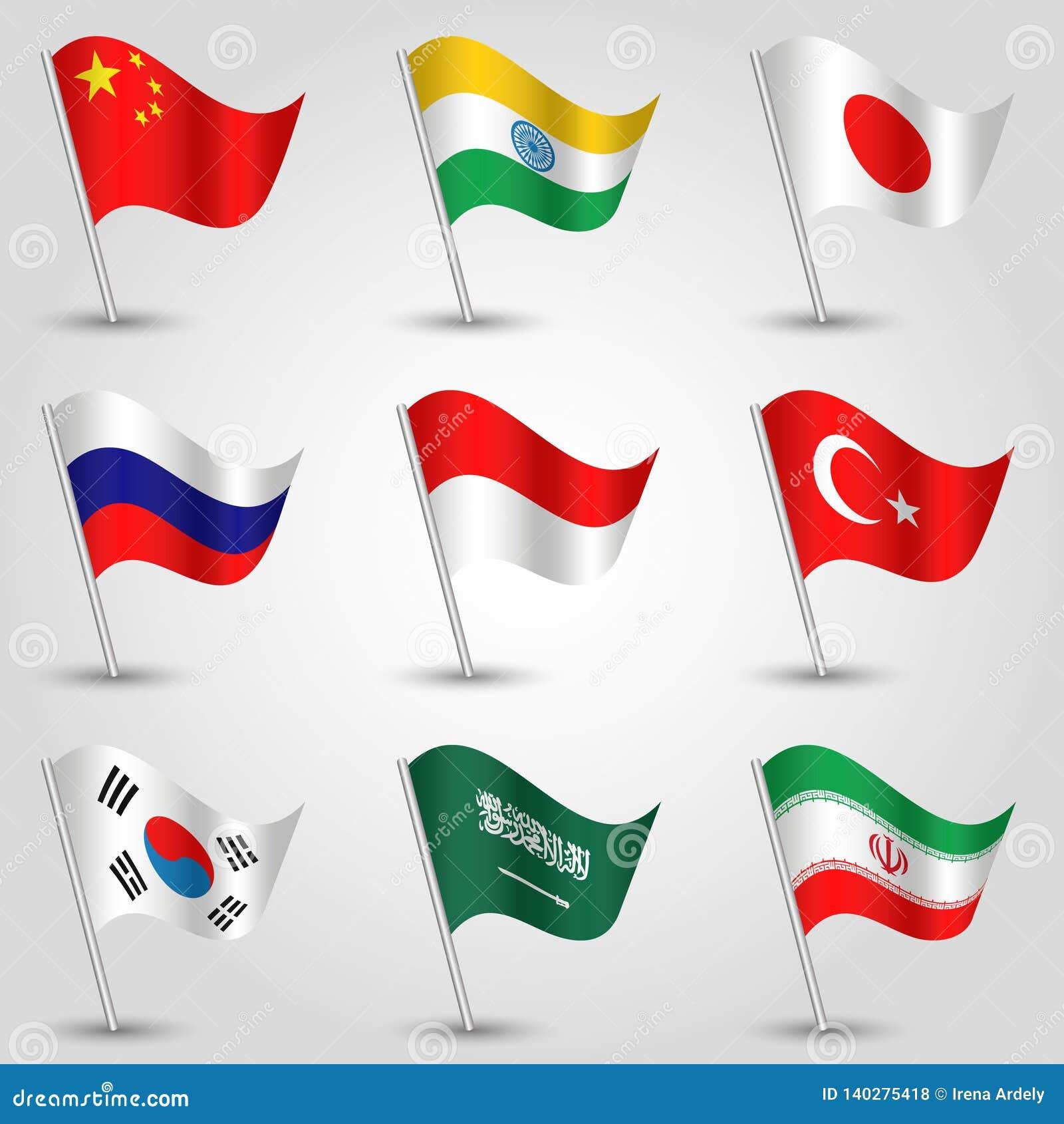 Vektorsatz wellenartig bewegende größte Wirtschaftssysteme der Flaggenländer auf silbernem Pfosten - Ikone des Zustandsporzellans