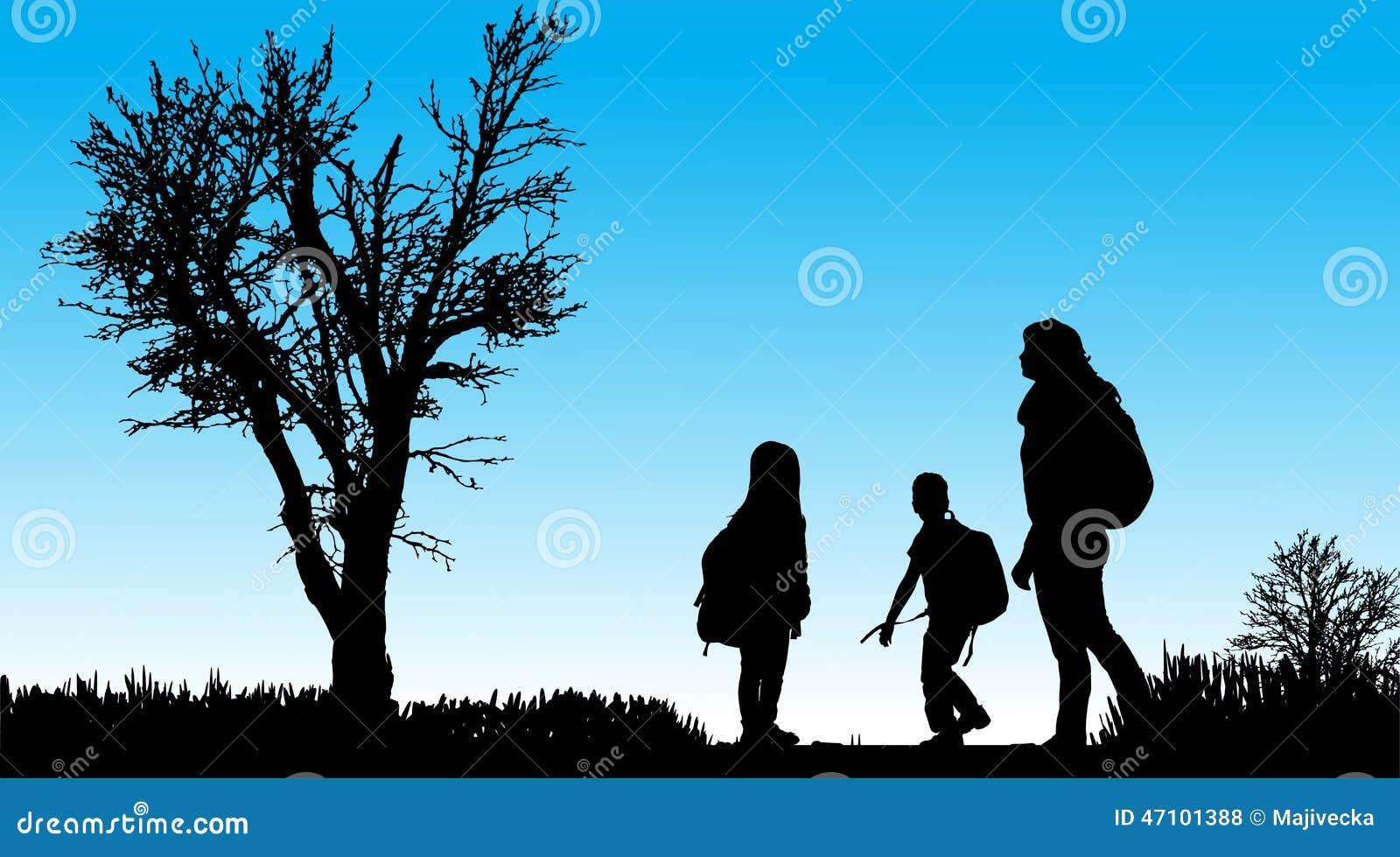 Vektorschattenbild der Familie