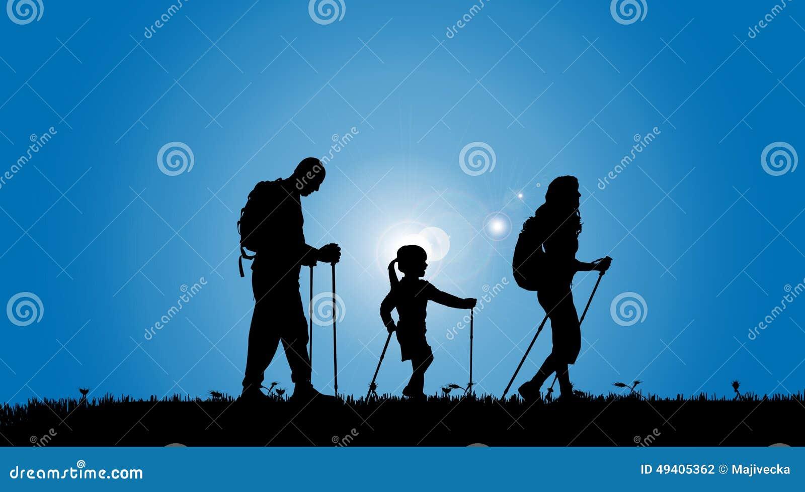 Download Vektorschattenbild Einer Familie Vektor Abbildung - Illustration von rucksack, outdoor: 49405362