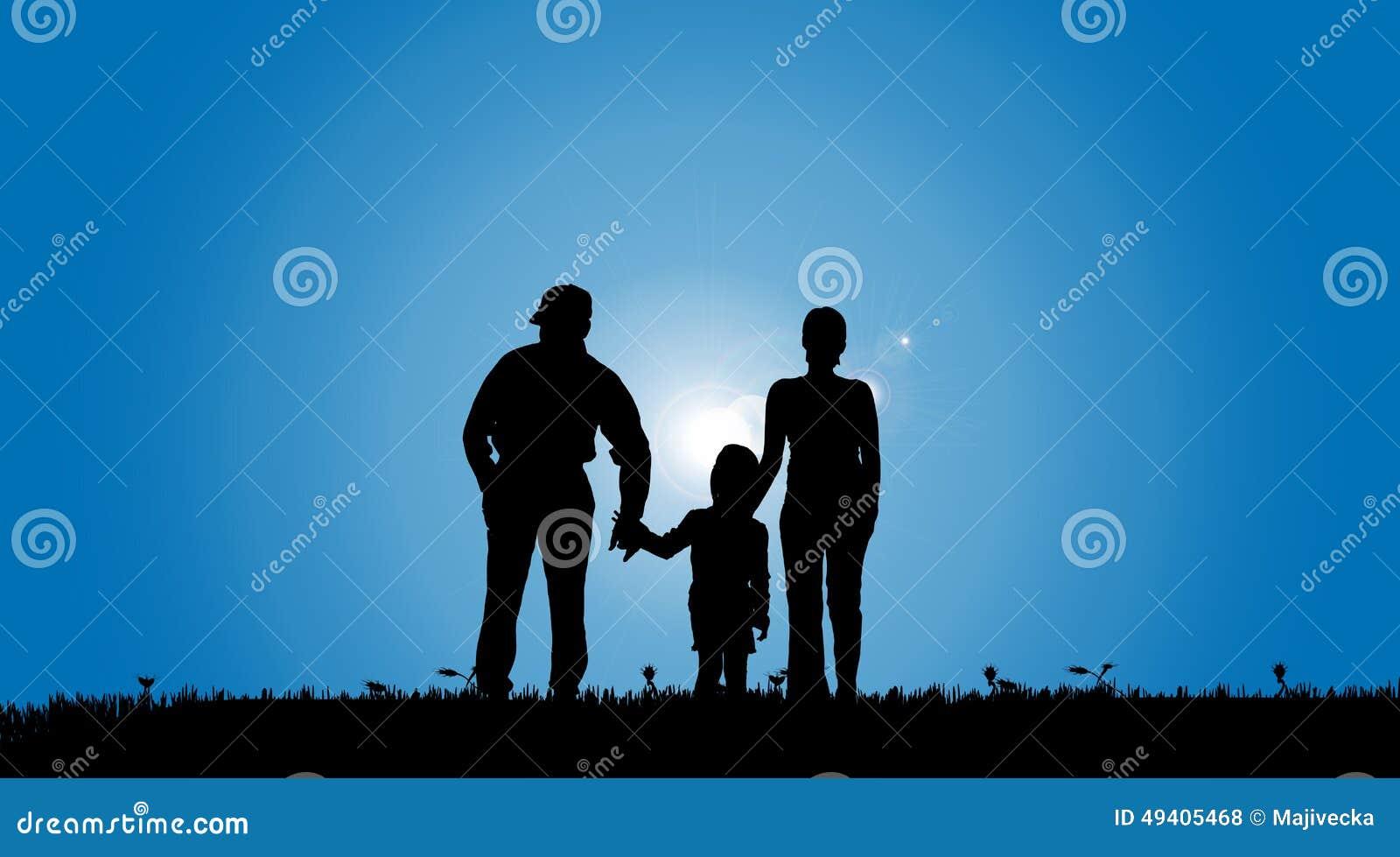 Download Vektorschattenbild Einer Familie Vektor Abbildung - Illustration von land, obacht: 49405468