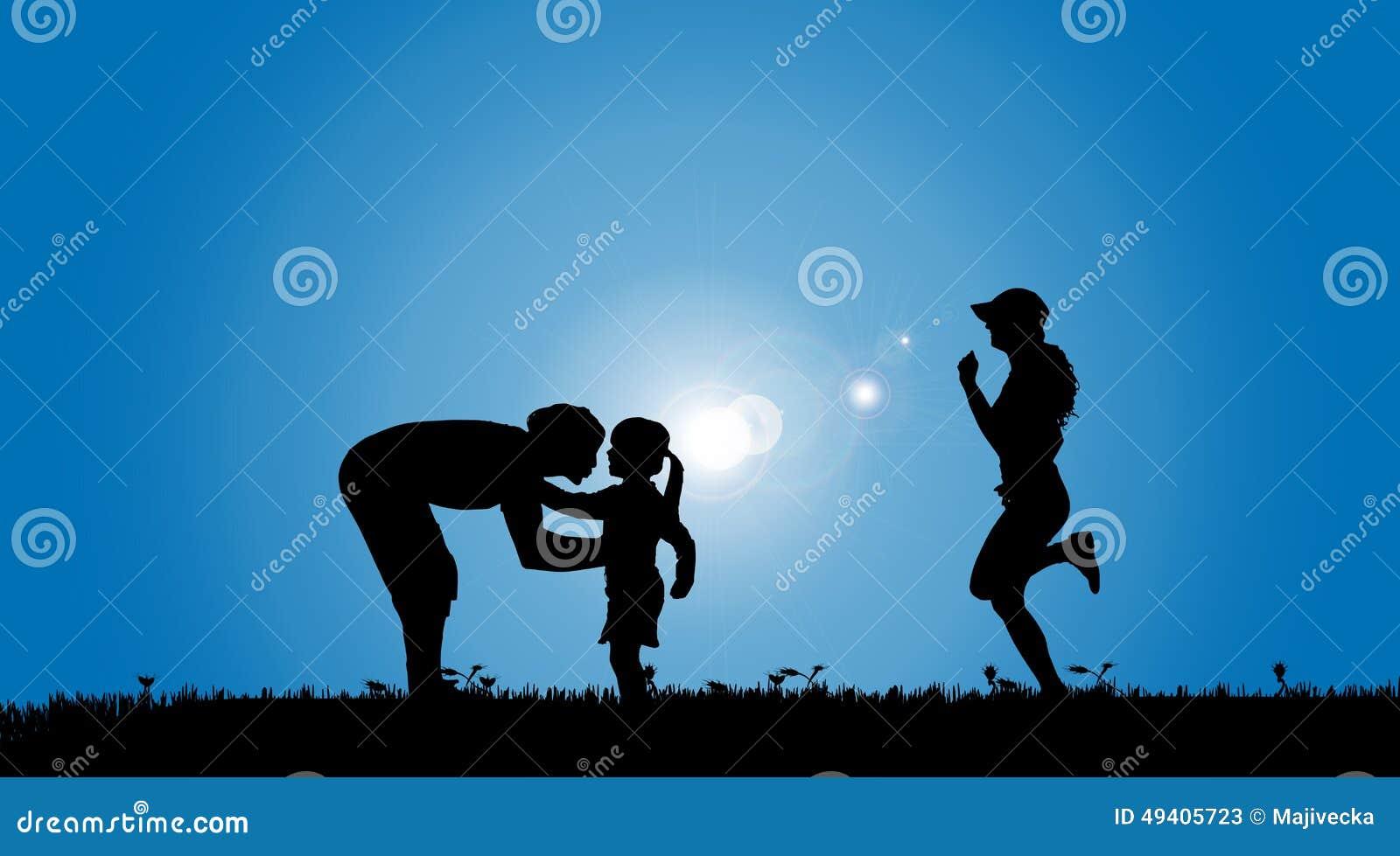 Download Vektorschattenbild Einer Familie Vektor Abbildung - Illustration von outdoor, glücklich: 49405723