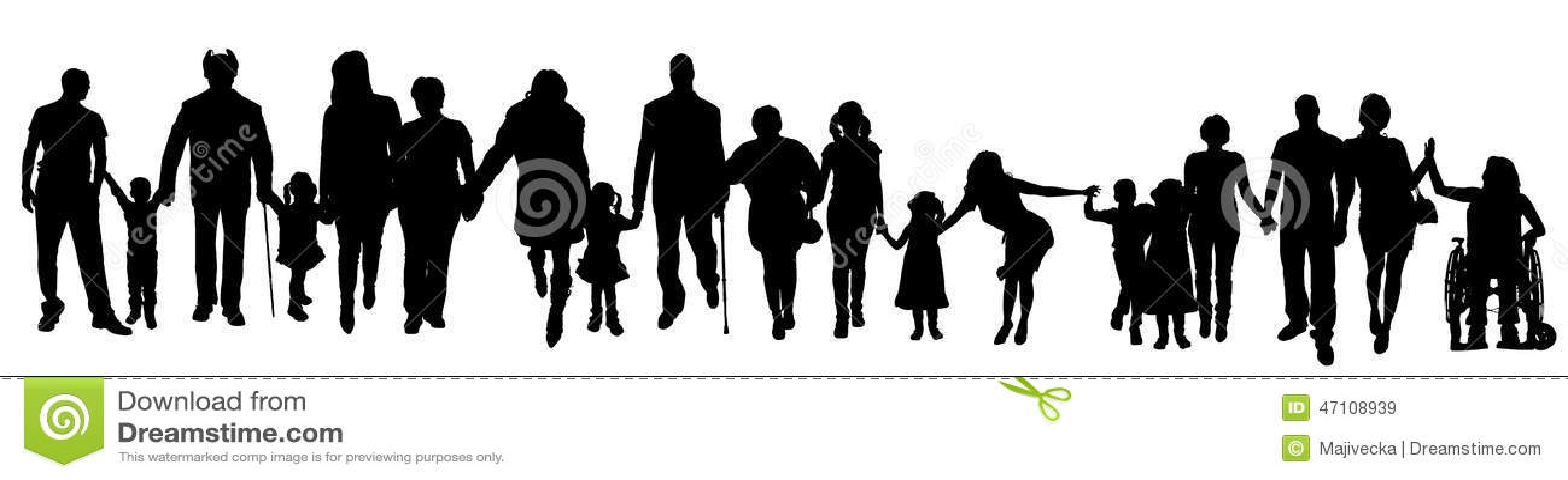 Vektorschattenbild einer Gruppe von Personen