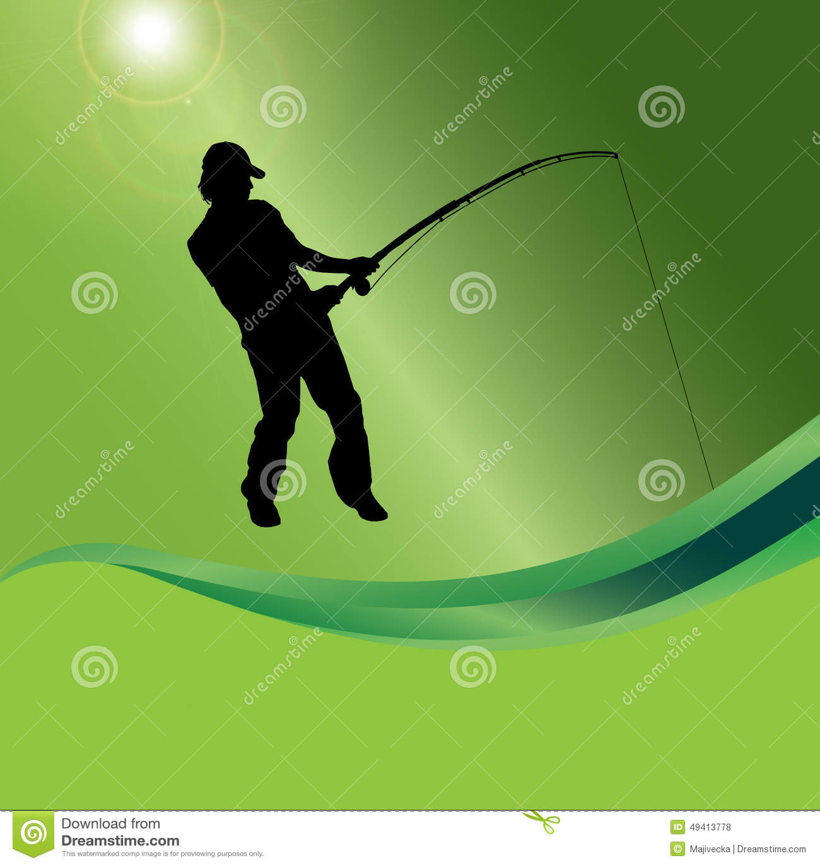 Download Vektorschattenbild Eines Mannes, Der Fischt Vektor Abbildung - Illustration von grün, erwachsener: 49413778
