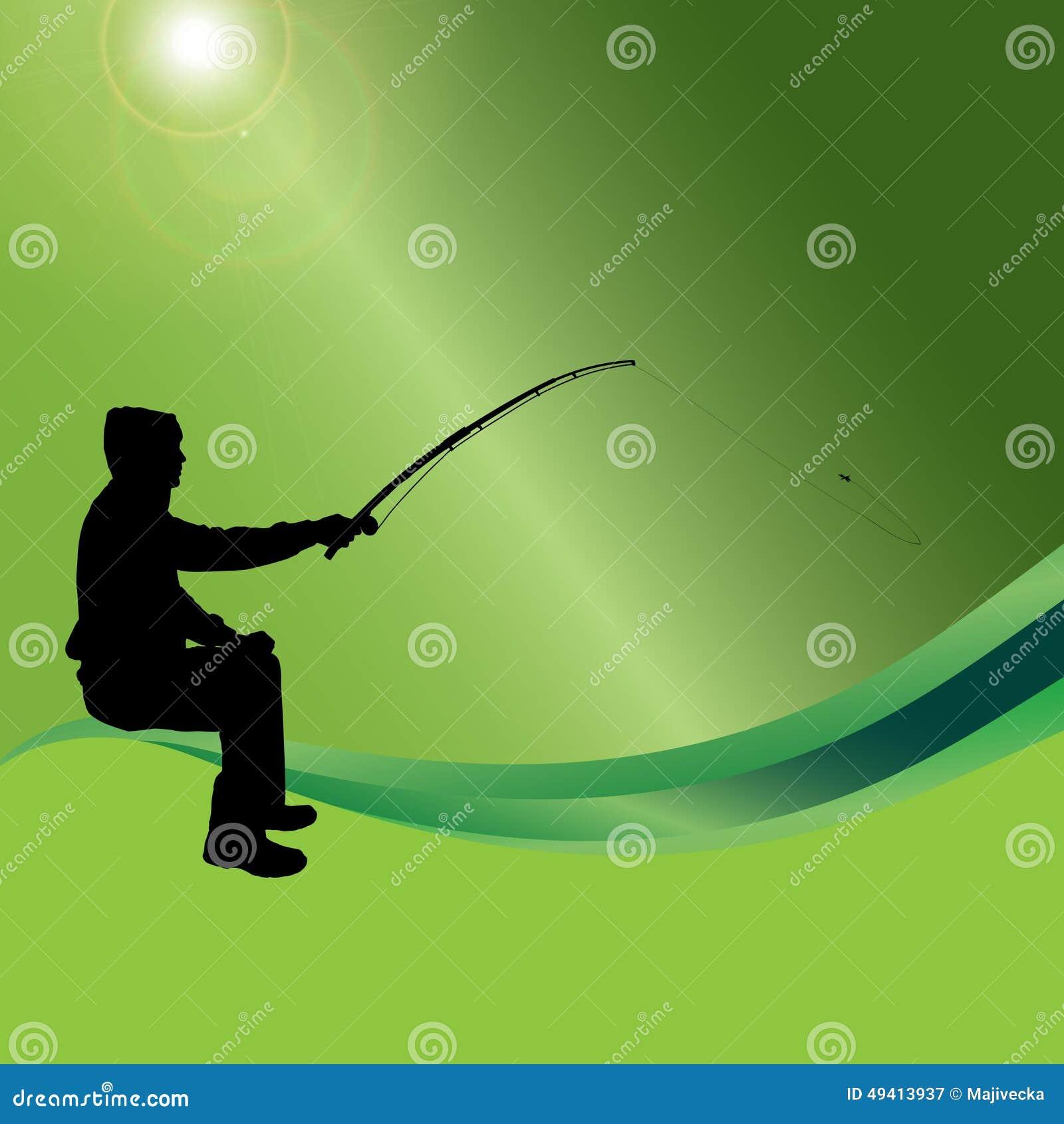 Download Vektorschattenbild Eines Mannes, Der Fischt Vektor Abbildung - Illustration von grün, hintergrund: 49413937