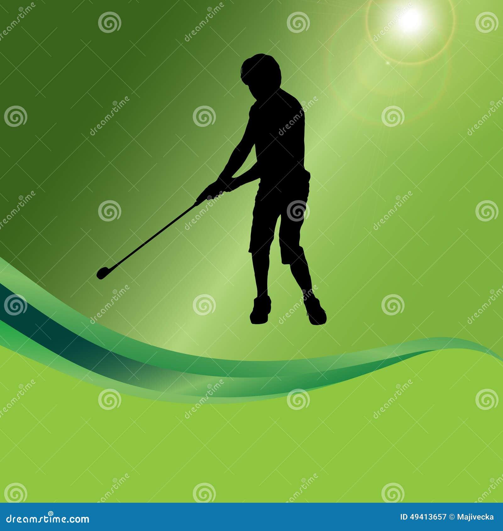 Download Vektorschattenbild Eines Mannes, Der Golf Spielt Vektor Abbildung - Illustration von meister, grün: 49413657