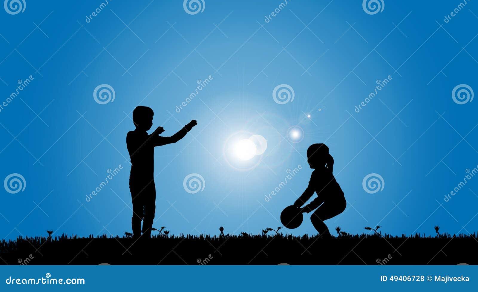 Download Vektorschattenbild Von Geschwister Vektor Abbildung - Illustration von glücklich, positiv: 49406728