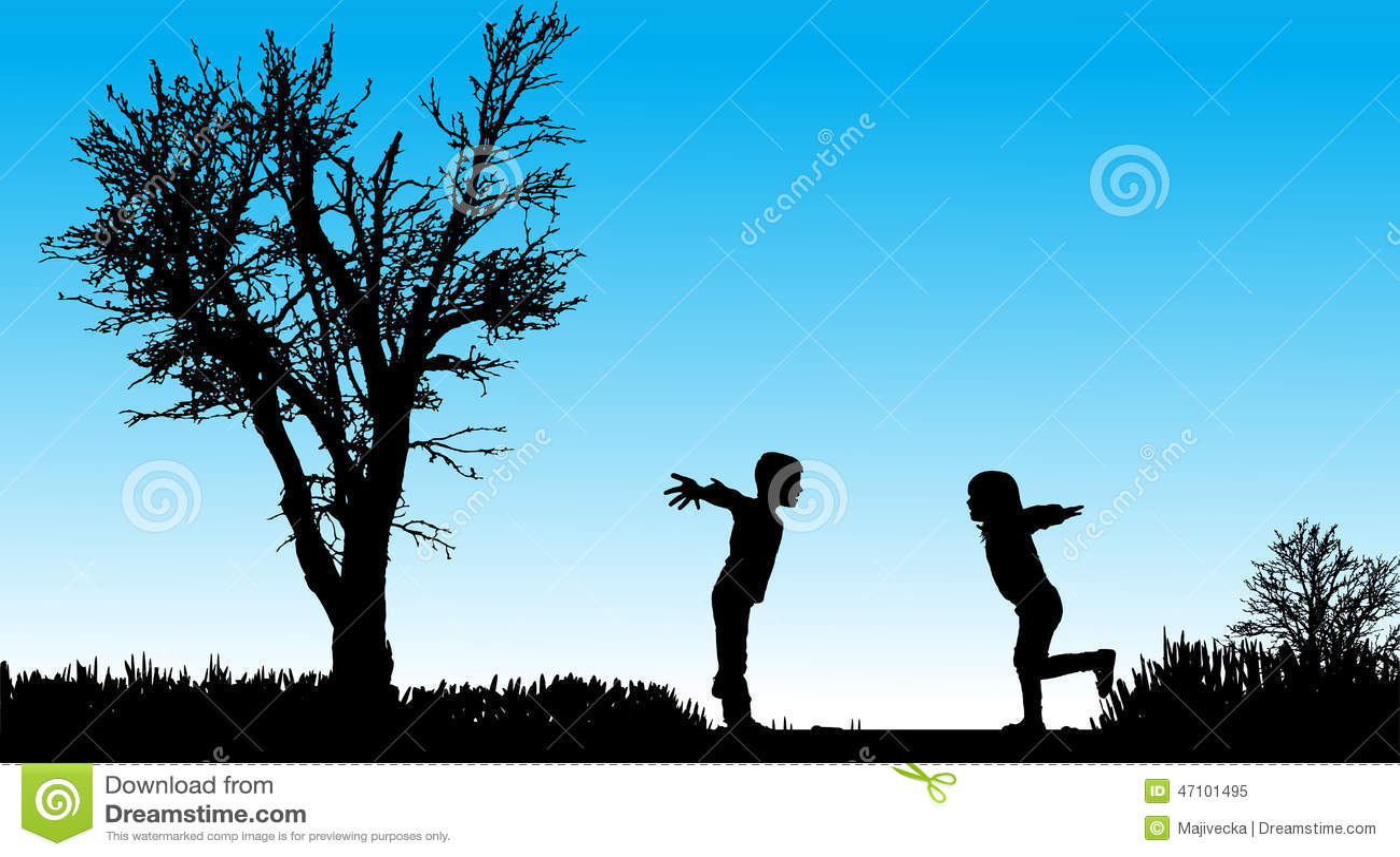 Vektorschattenbild von Kindern