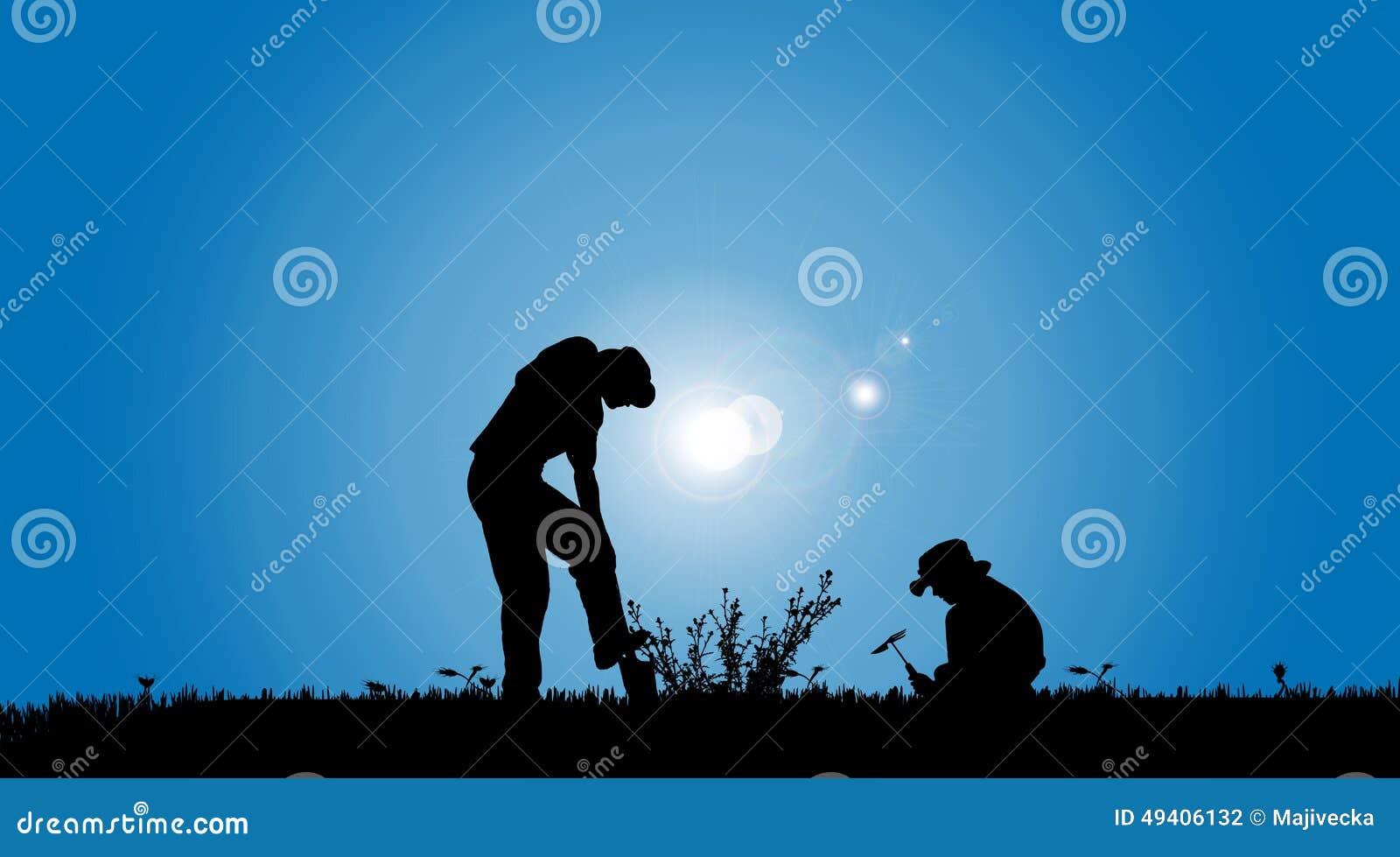 Download Vektorschattenbilder Der Familie Vektor Abbildung - Illustration von gardening, hintergrund: 49406132