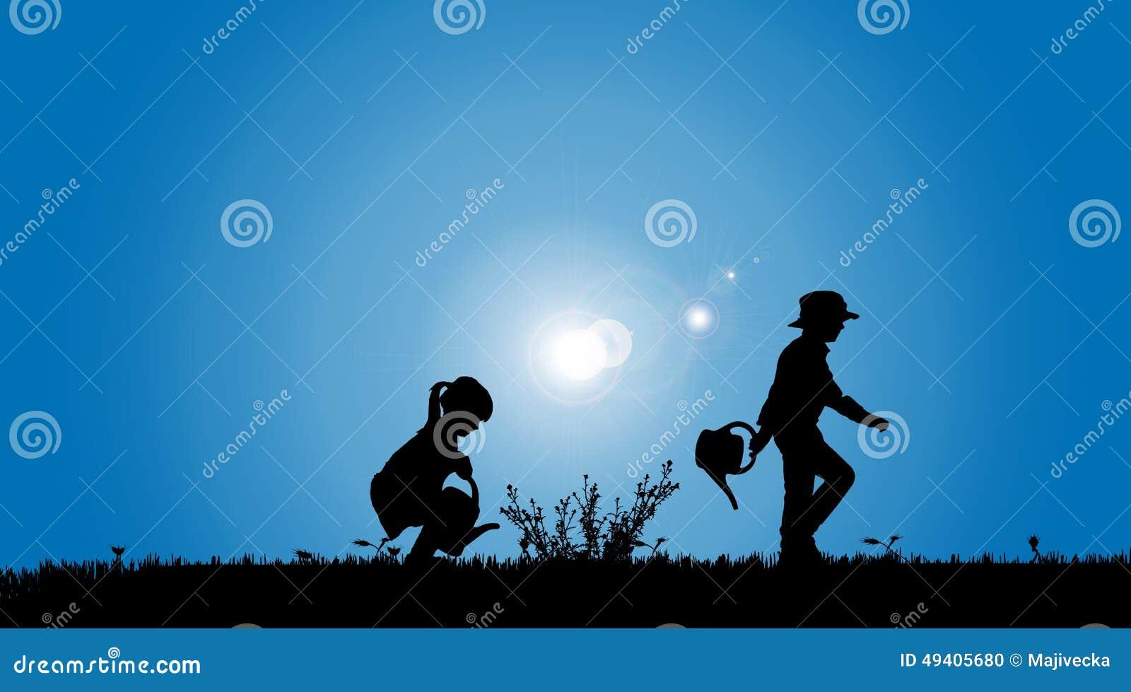 Download Vektorschattenbilder Von Kindern Vektor Abbildung - Illustration von glücklich, umwelt: 49405680