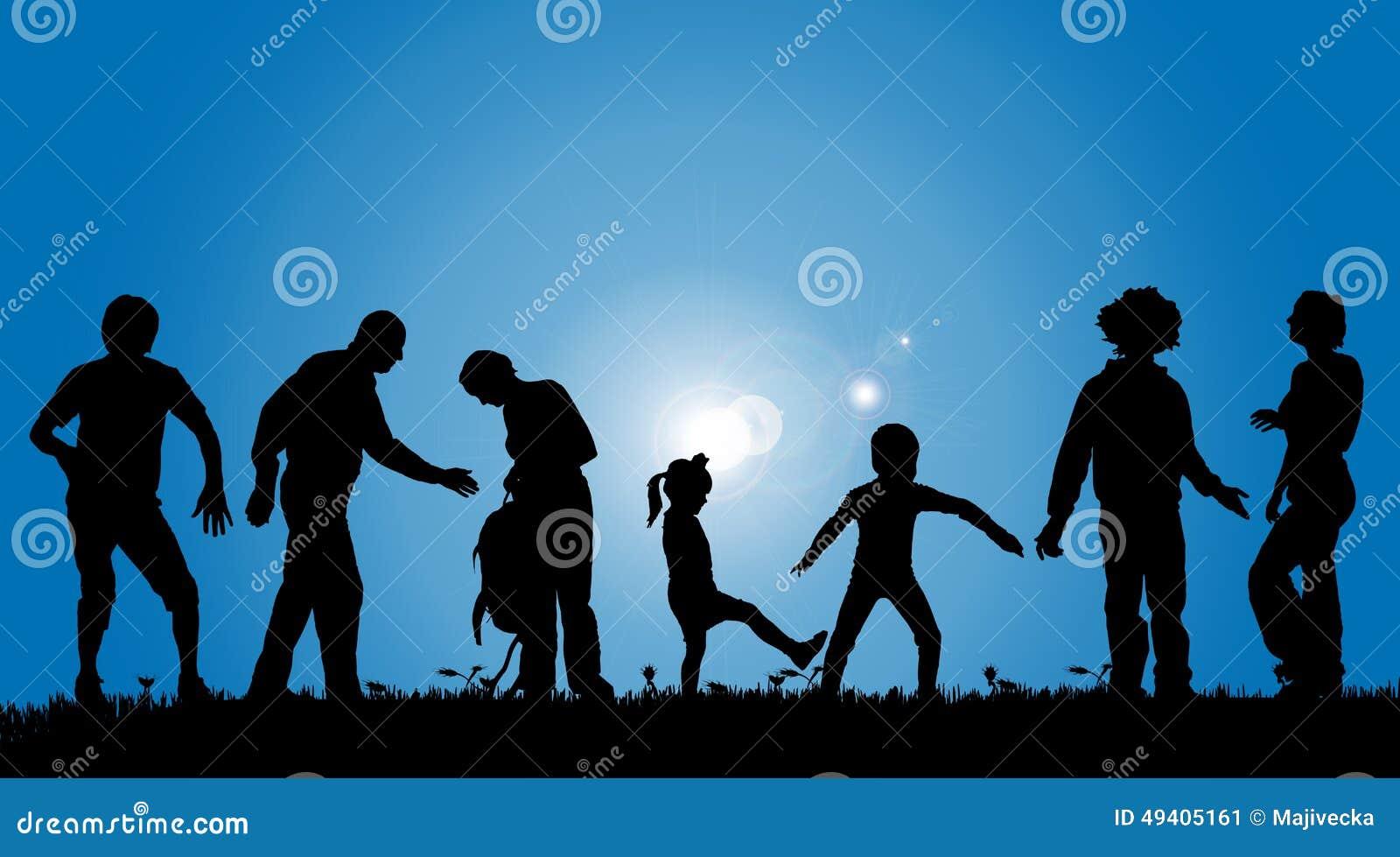 Download Vektorschattenbilder Von Leuten Vektor Abbildung - Illustration von familie, bewegung: 49405161