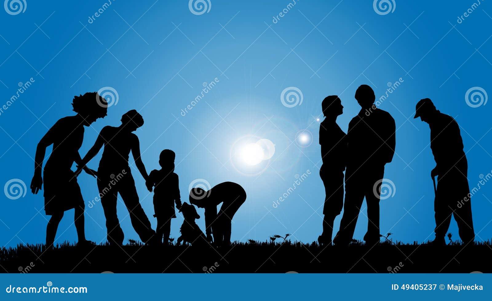 Download Vektorschattenbilder Von Leuten Vektor Abbildung - Illustration von erzeugung, gras: 49405237