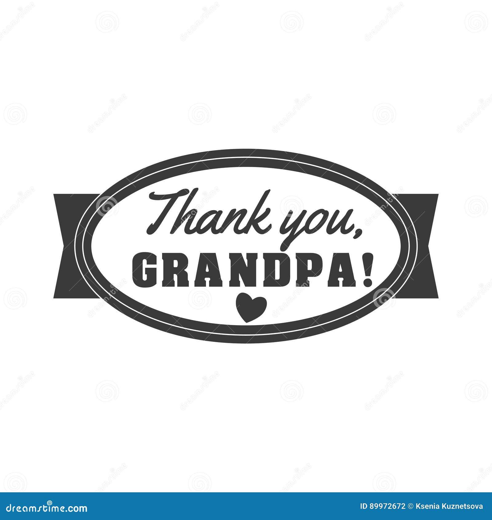Vektorschwarzweiss Opa Zeichenillustration Danke Großvater